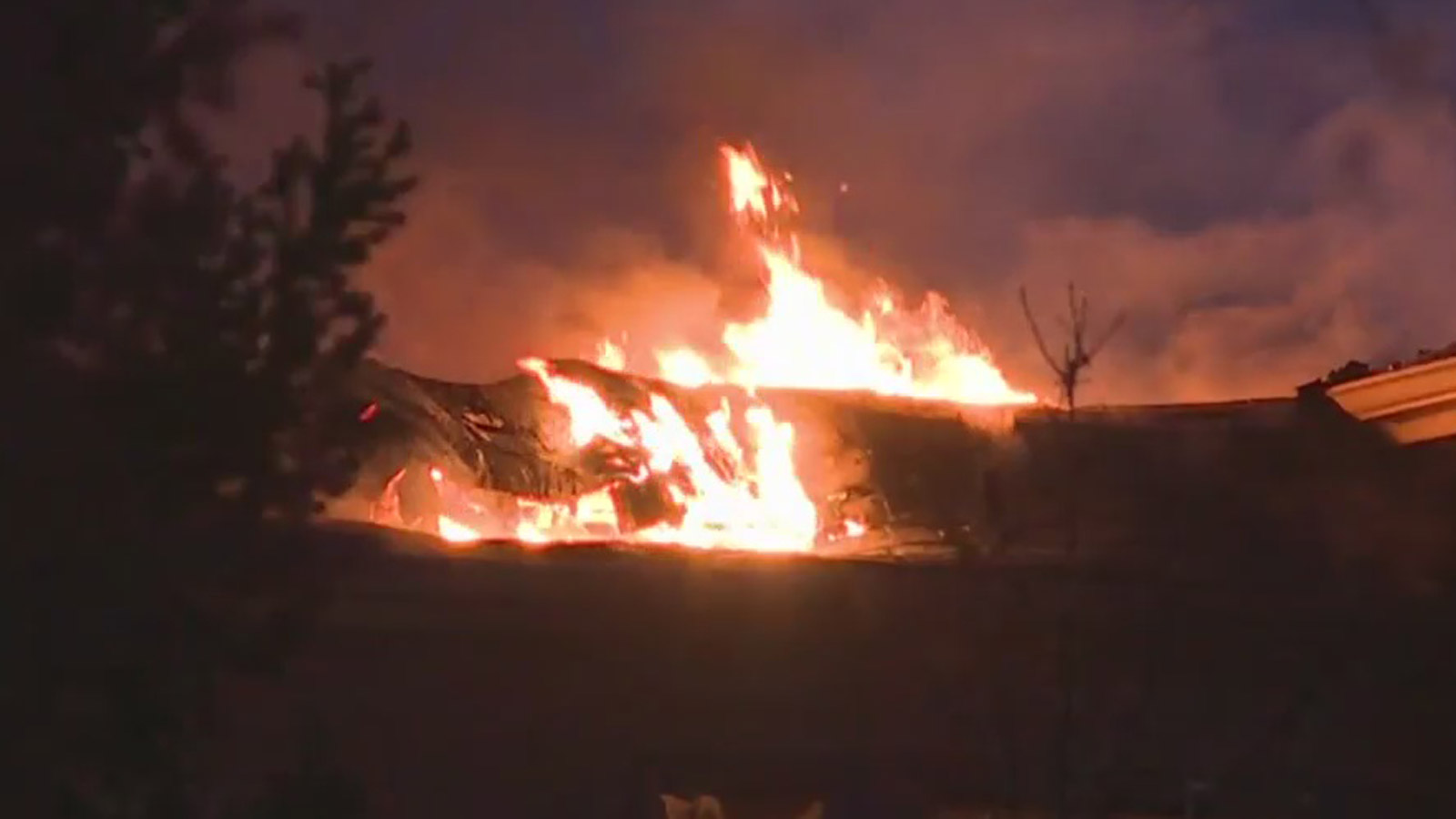 The house fire in Larkspur (credit: CBS)