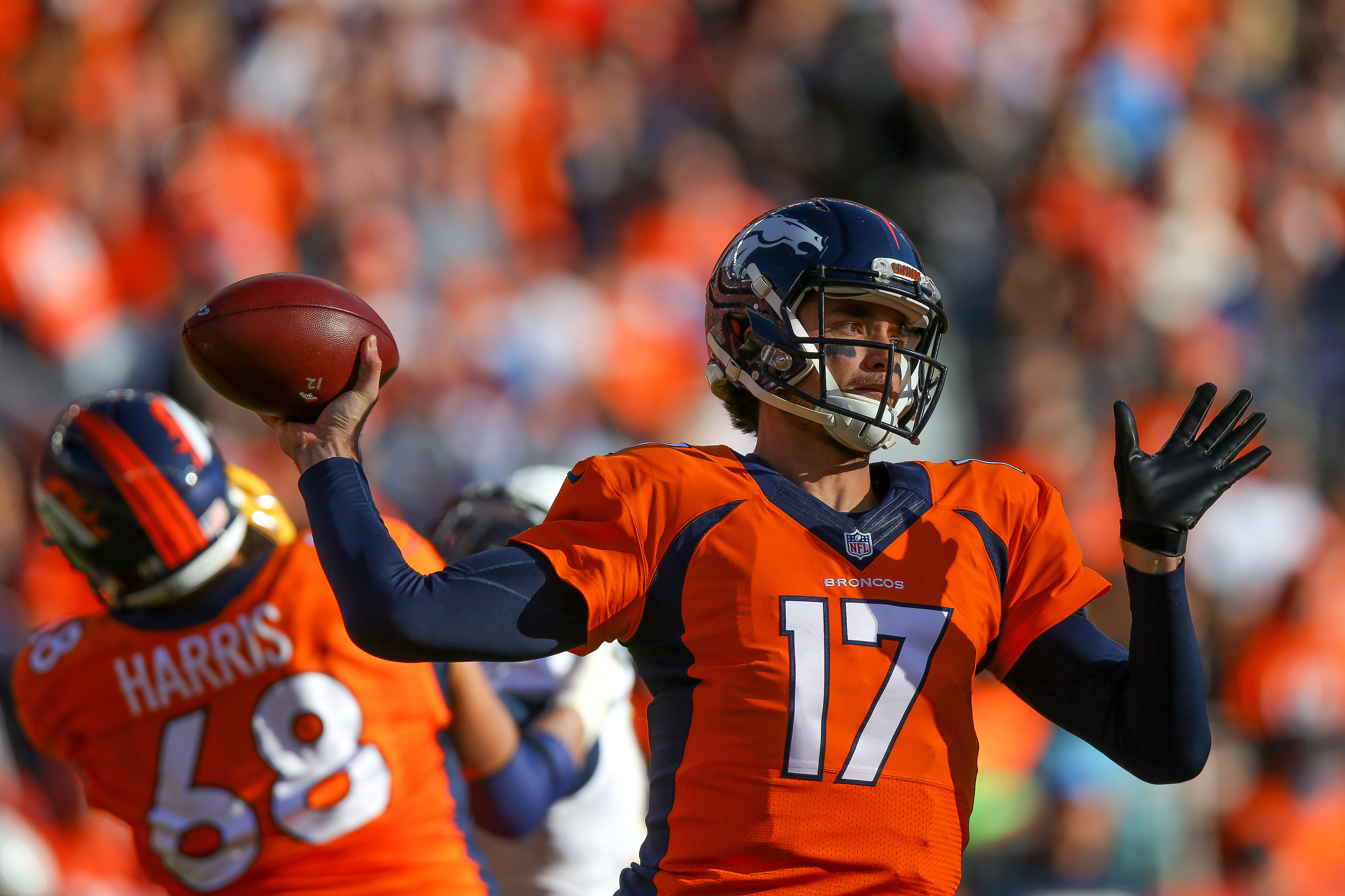 Quarterback Brock Osweiler #17 of the Denver Broncos passes against the San Diego Chargers in the first quarter of a game at Sports Authority Field at Mile High on January 3, 2016 in Denver, Colorado. (Photo by Justin Edmonds/Getty Images)