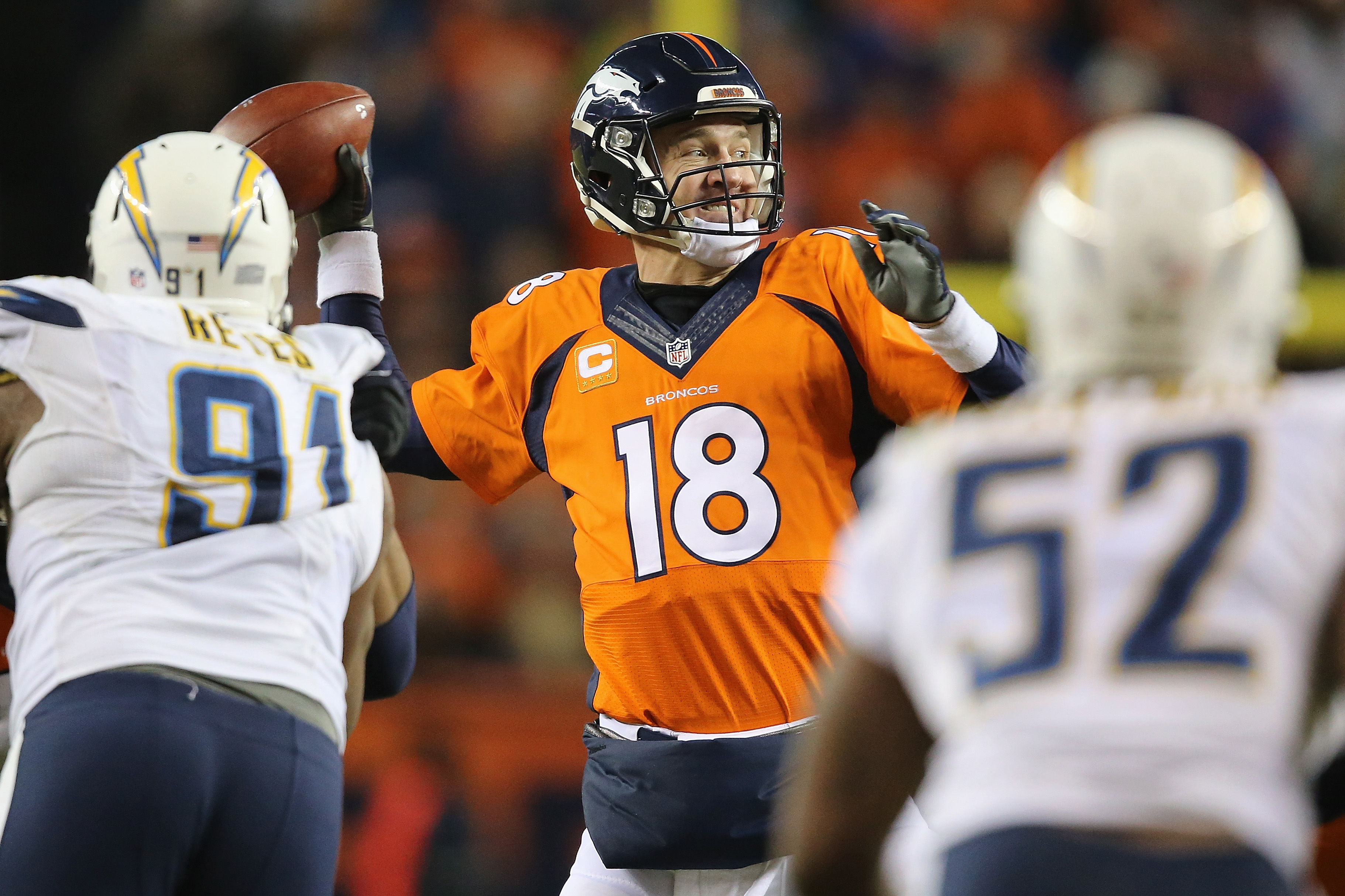 Quarterback Peyton Manning #18 of the Denver Broncos passes against the San Diego Chargers during a game at Sports Authority Field at Mile High on Jan. 3, 2016. (Photo by Sean M. Haffey/Getty Images)