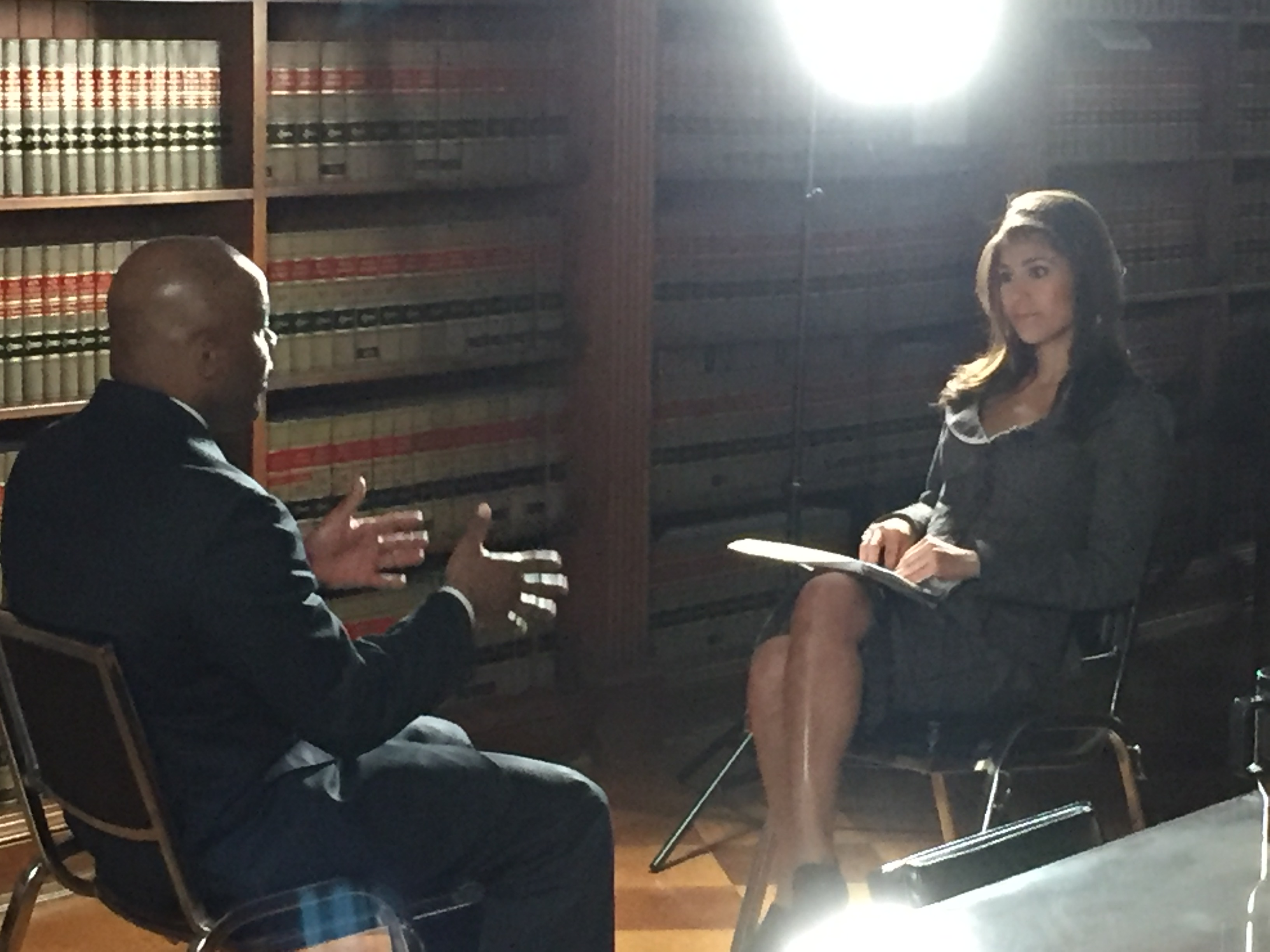 CBS4's Britt Moreno talks affordable housing with Denver Mayor Michael Hancock. (Credit CBS)