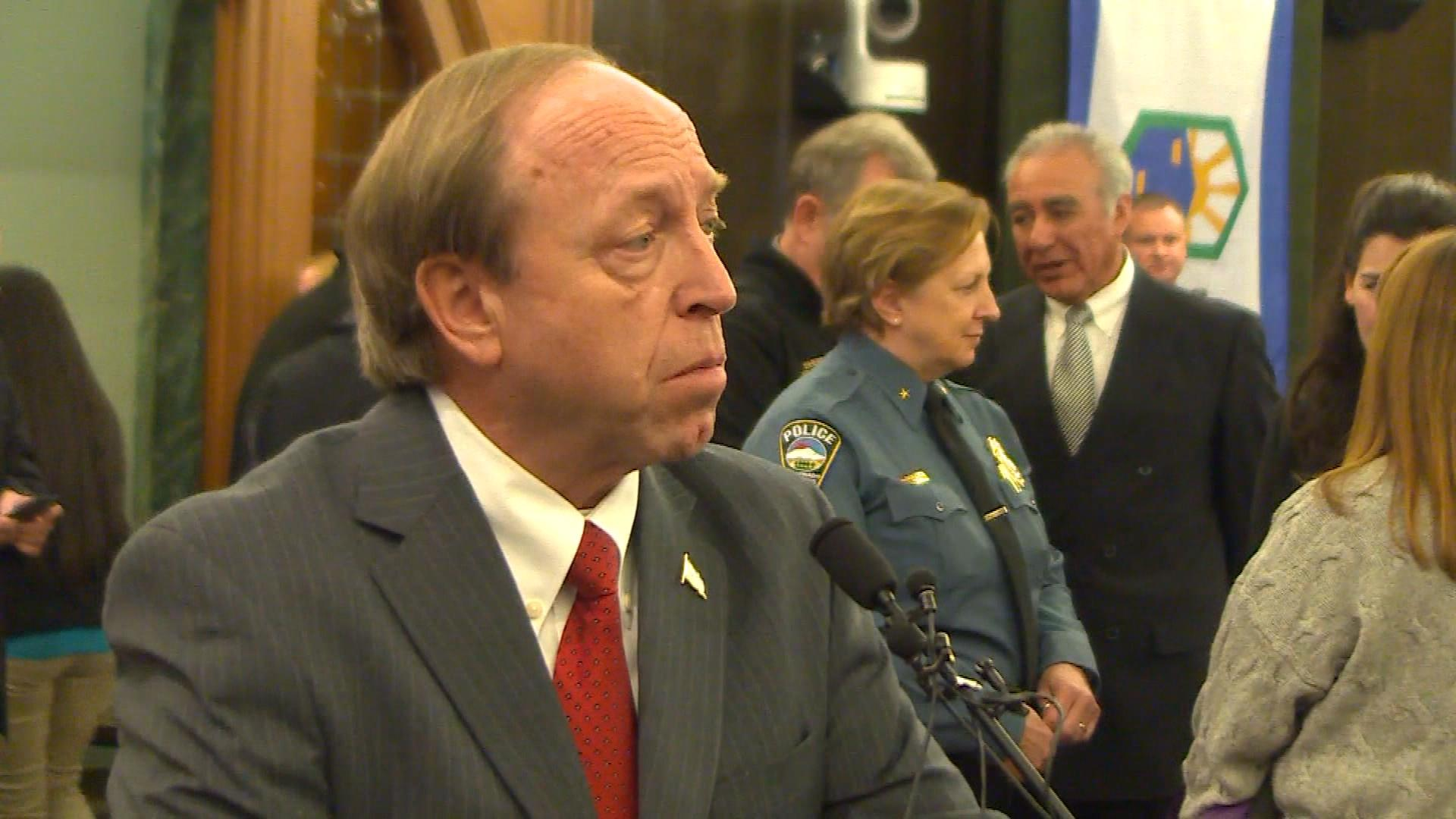 Former Attorney General and Colorado Springs Mayor John Suthers at the ceremony (credit: CBS)