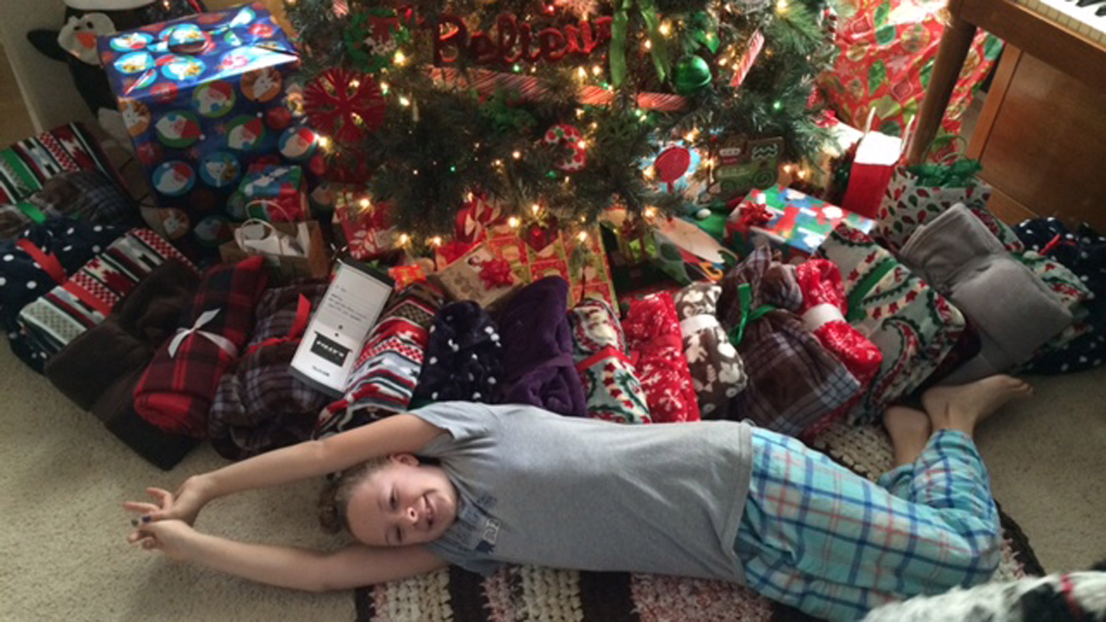 Kyra Dooley and her blankets (credit: Dooley Family)