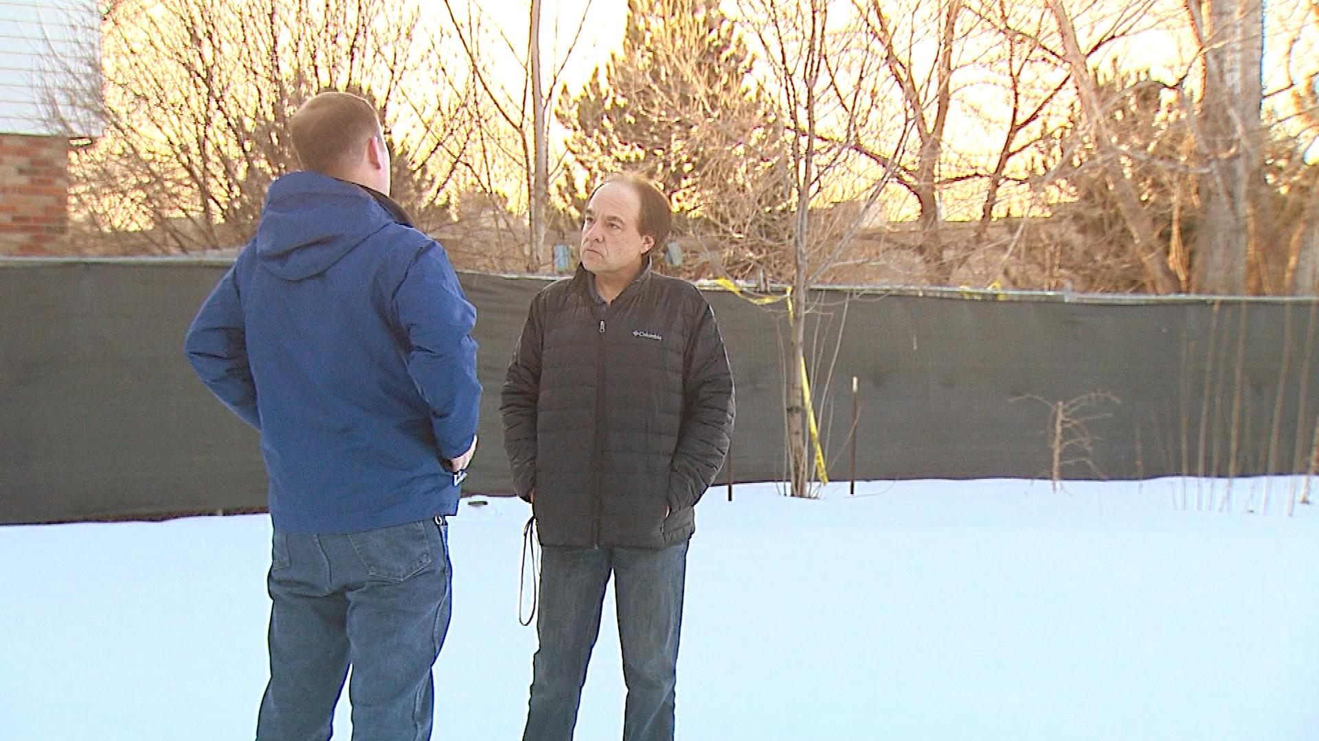 CBS4's Jeff Todd interviews Leo Lech where the house once stood (credit: CBS)