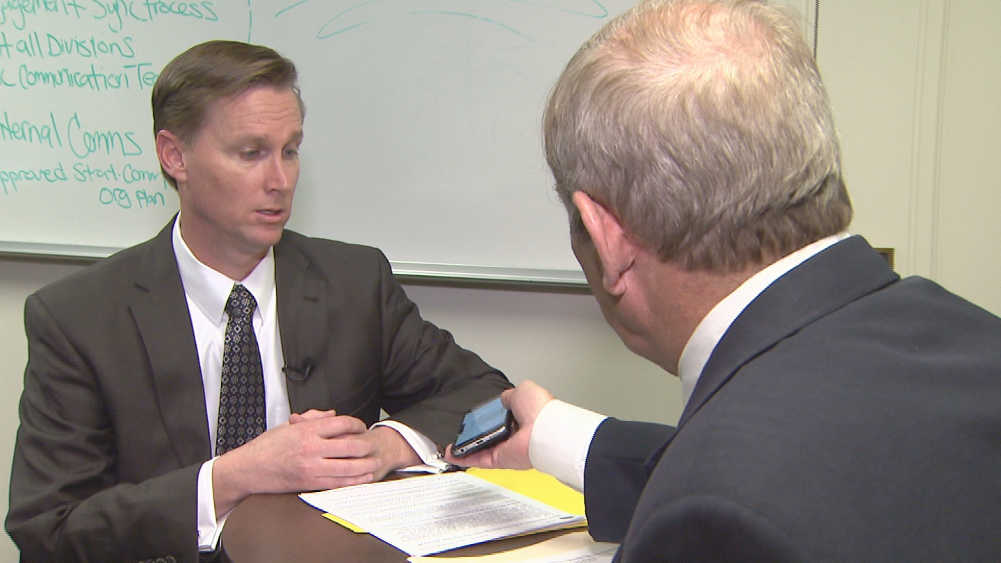 CBS4's Rick Sallinger interviews Colorado Marijuana Enforcement Division Lewis Koski (credit: CBS)