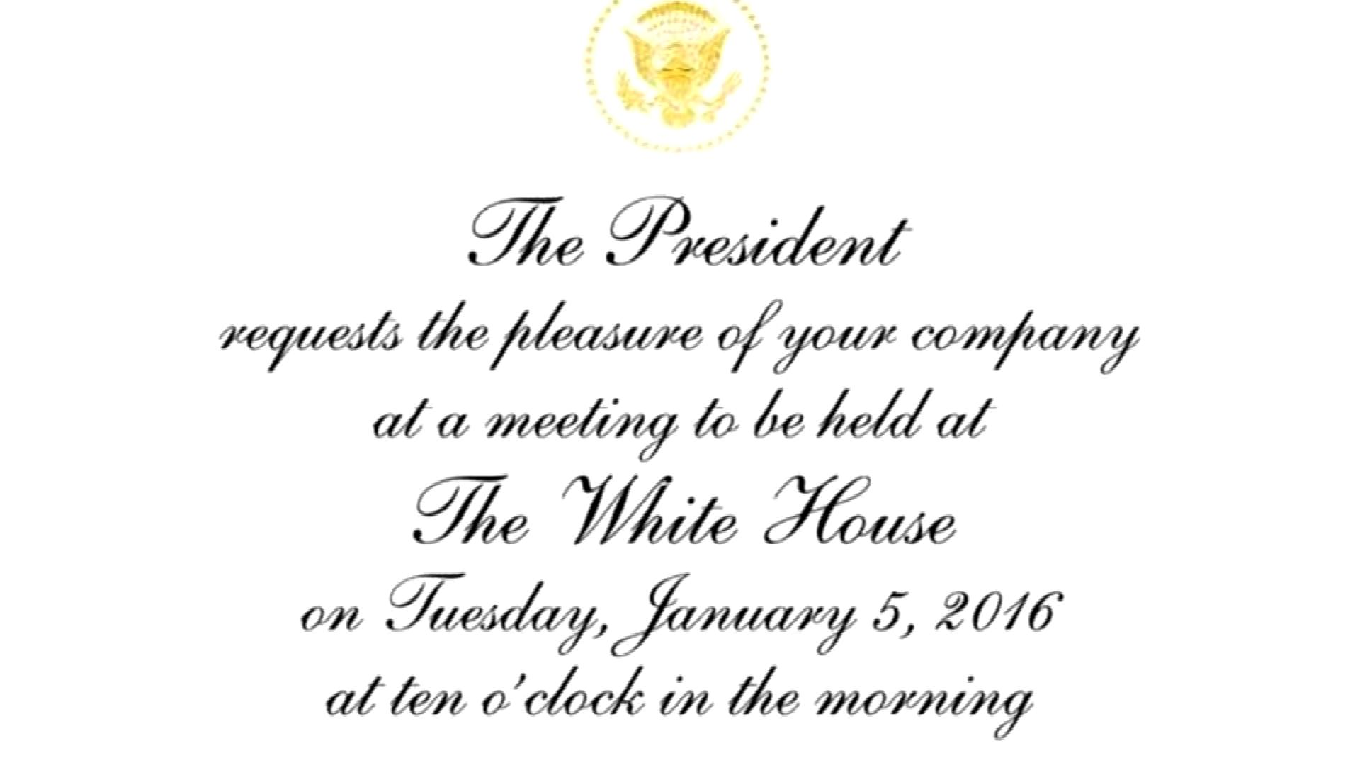 The White House's invitation (credit: CBS)