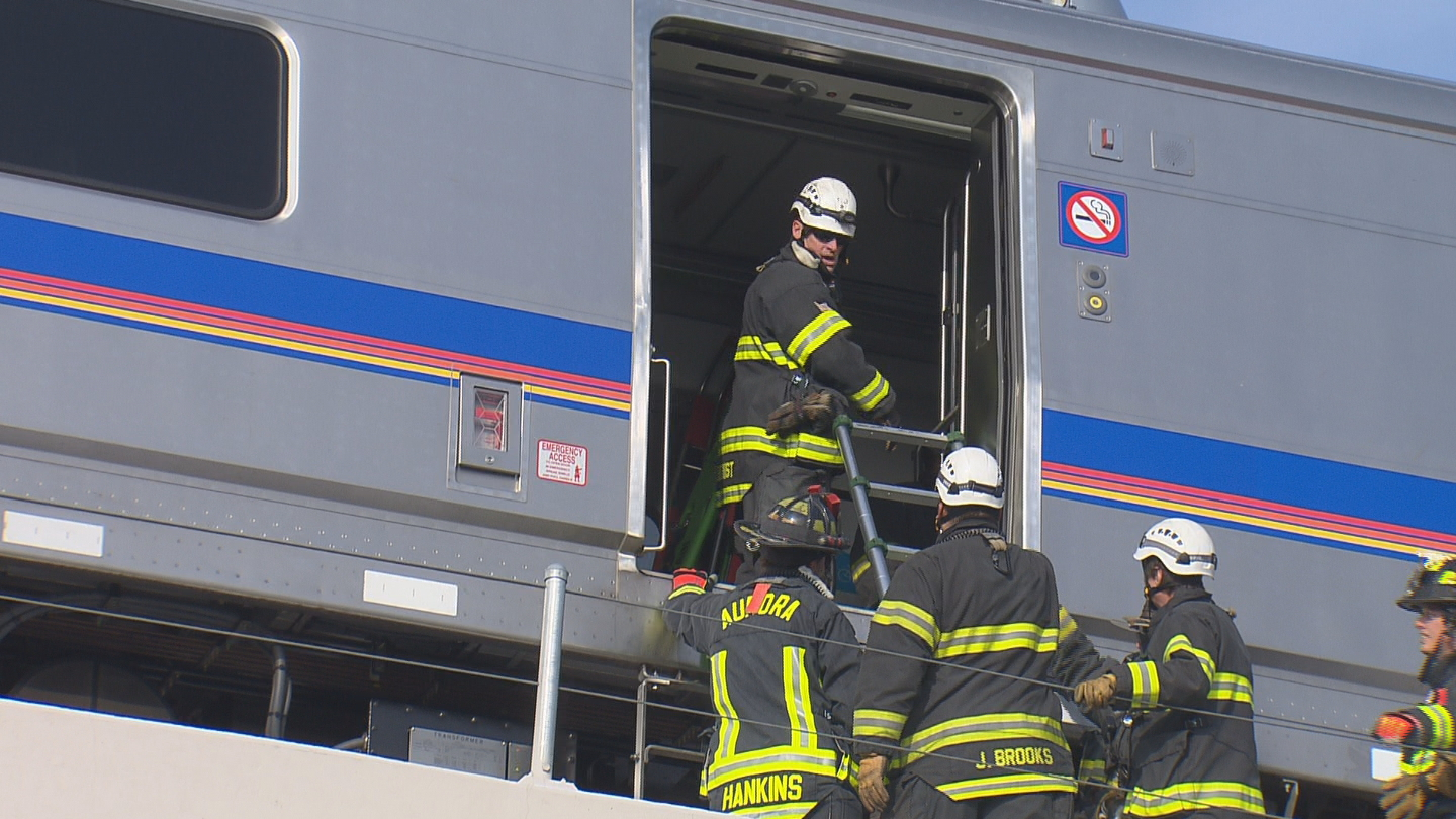 RTD conducted an emergency drill on the A-line commuter rail (credit: CBS)