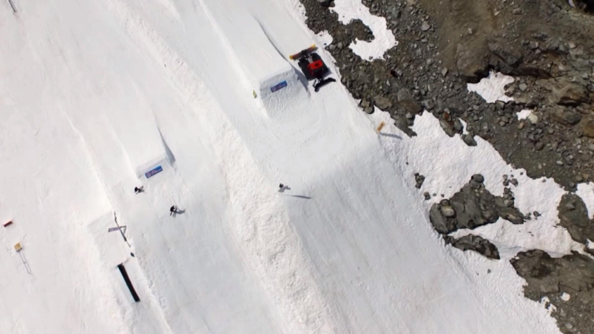 The view of a ski slope from a drone (credit: CBS)