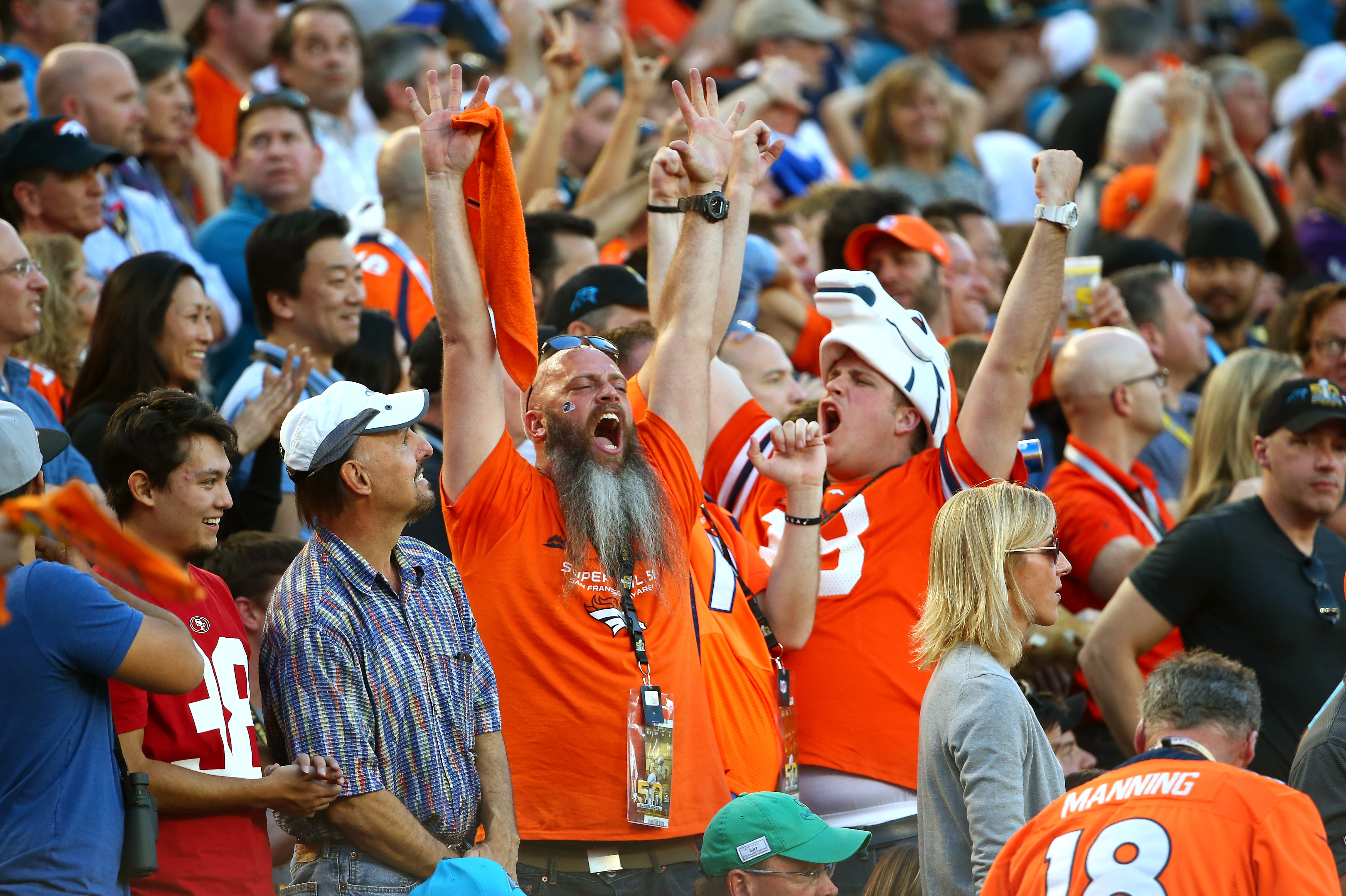 Fans of the Denver Broncos cheer in the first half against the Carolina Panthers during Super Bowl 50 at Levi's Stadium on February 7, 2016 in Santa Clara, California. (Photo by Maddie Meyer/Getty Images)
