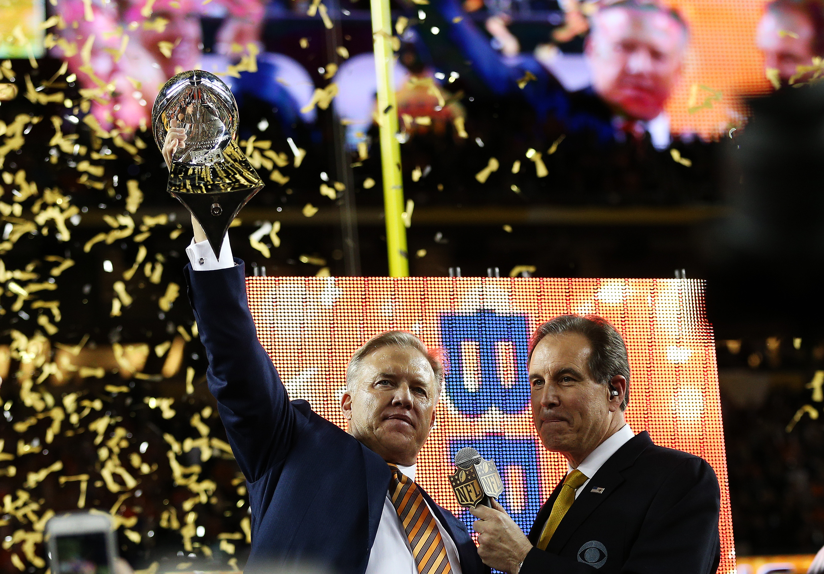 Denver Broncos general manager John Elway holds up the Vince Lombardi Trophy after defeating the Carolina Panthers during Super Bowl 50 at Levi's Stadium on February 7, 2016 in Santa Clara, California. The Broncos defeated the Panthers 24-10.  (Photo by Patrick Smith/Getty Images)