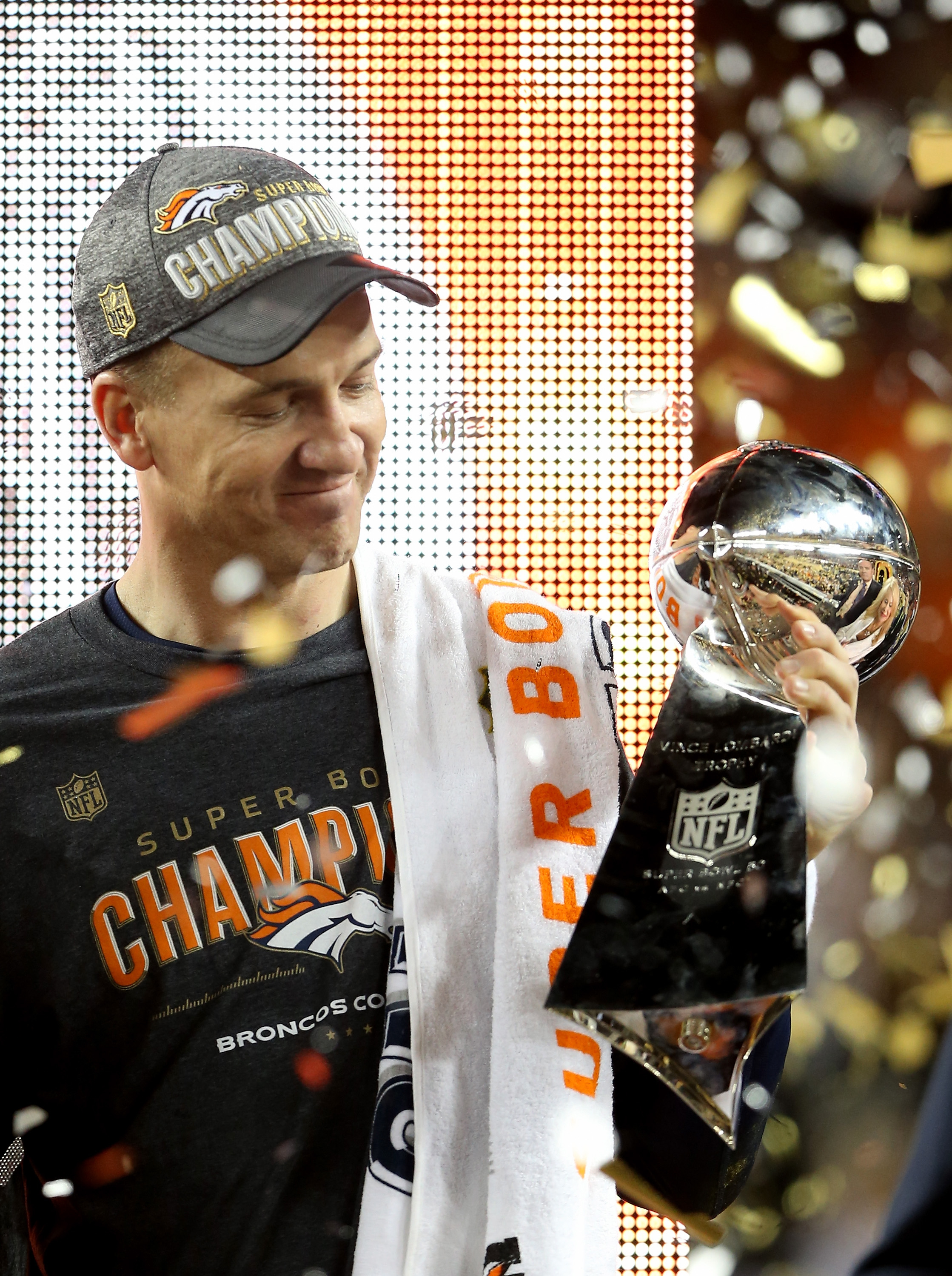 Peyton Manning #18 of the Denver Broncos celebrates with the Vince Lombardi Trophy after winning Super Bowl 50 at Levi's Stadium on February 7, 2016 in Santa Clara, California. The Denver Broncos defeated the Carolina Panthers 24-10.  (Photo by Streeter Lecka/Getty Images)