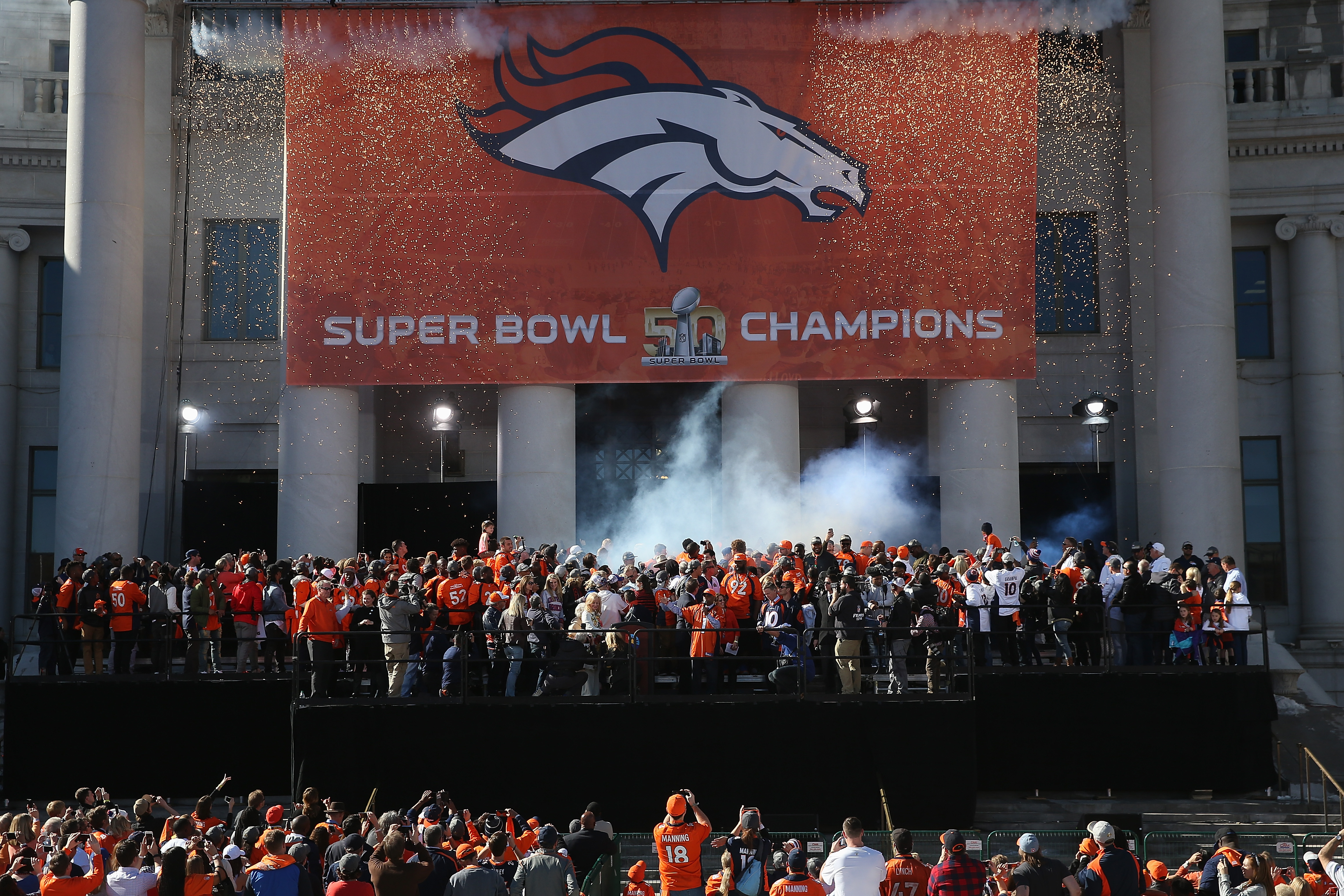The Super Bowl 50 Champion Denver Broncos are celebrated at a rally on the steps of the Denver City and County Building on February 9, 2016 in Denver, Colorado. The Broncos defeated the Panthers 24-10 in Super Bowl 50. (Photo by Doug Pensinger/Getty Images)