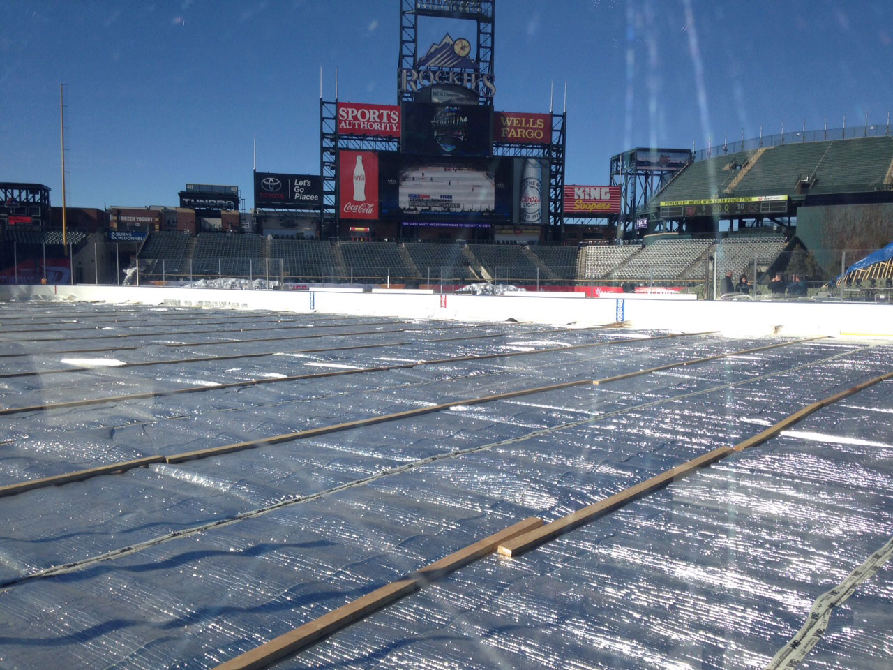The covered ice at the rink in Coors Field (credit: CBS)