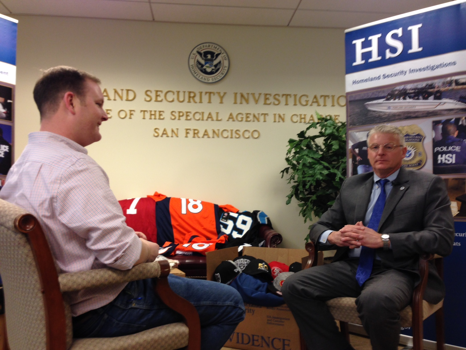 CBS4's Jeff Todd interviews said Bruce Foucart, the Director of the National Intellectual Property Rights Coordination Center. (credit: CBS)