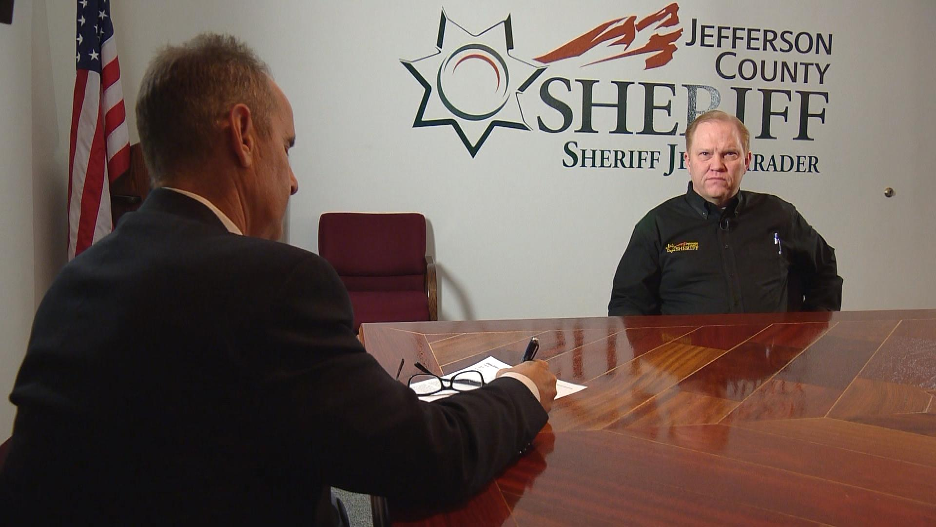 CBS4's Brian Maass interviews Jeffco Sheriff Jeff Shrader (credit: CBS)
