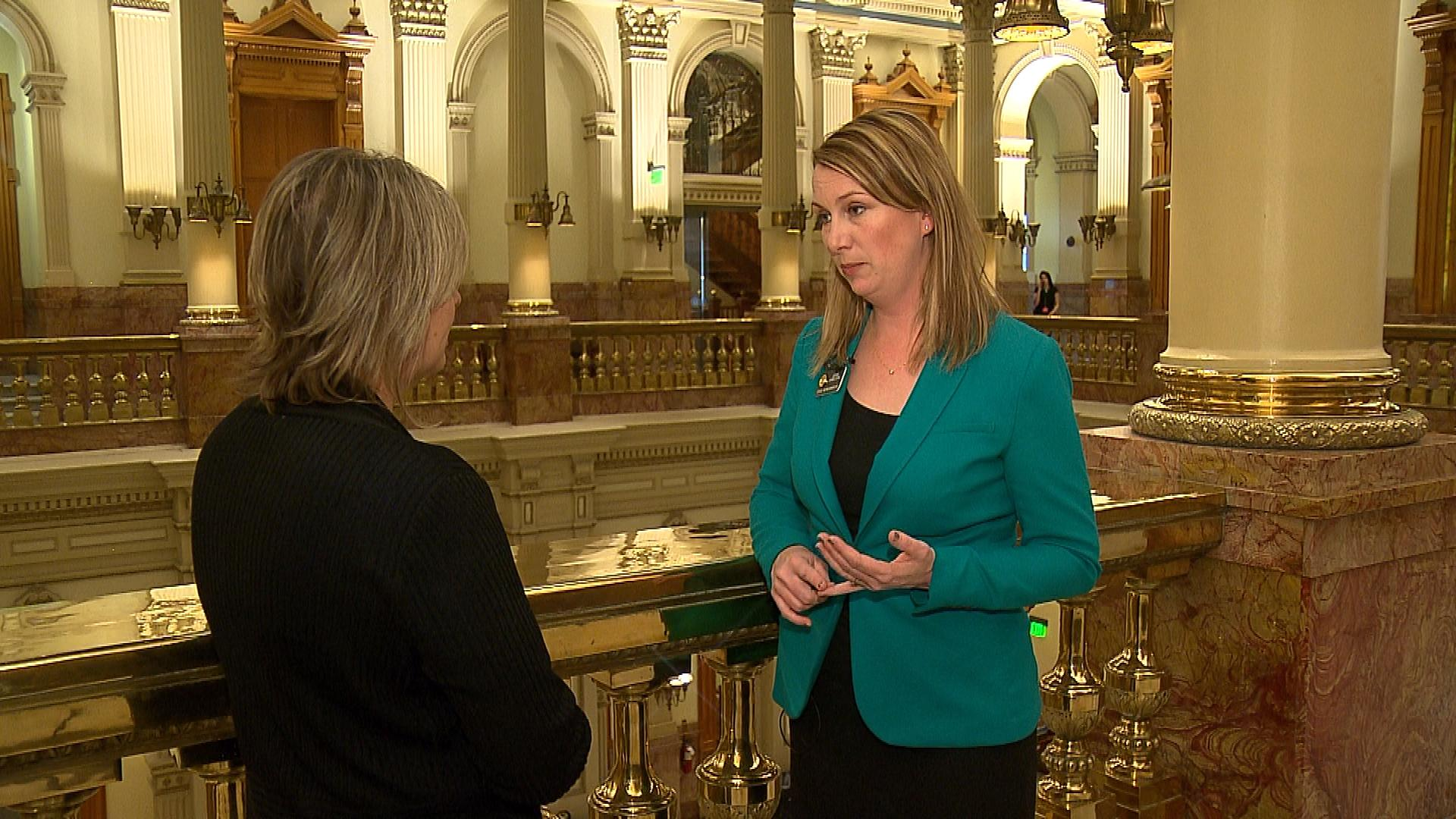 CBS4's Shaun Boyd interviews Rep. Jessie Danielson, D-Jefferson County (credit: CBS)