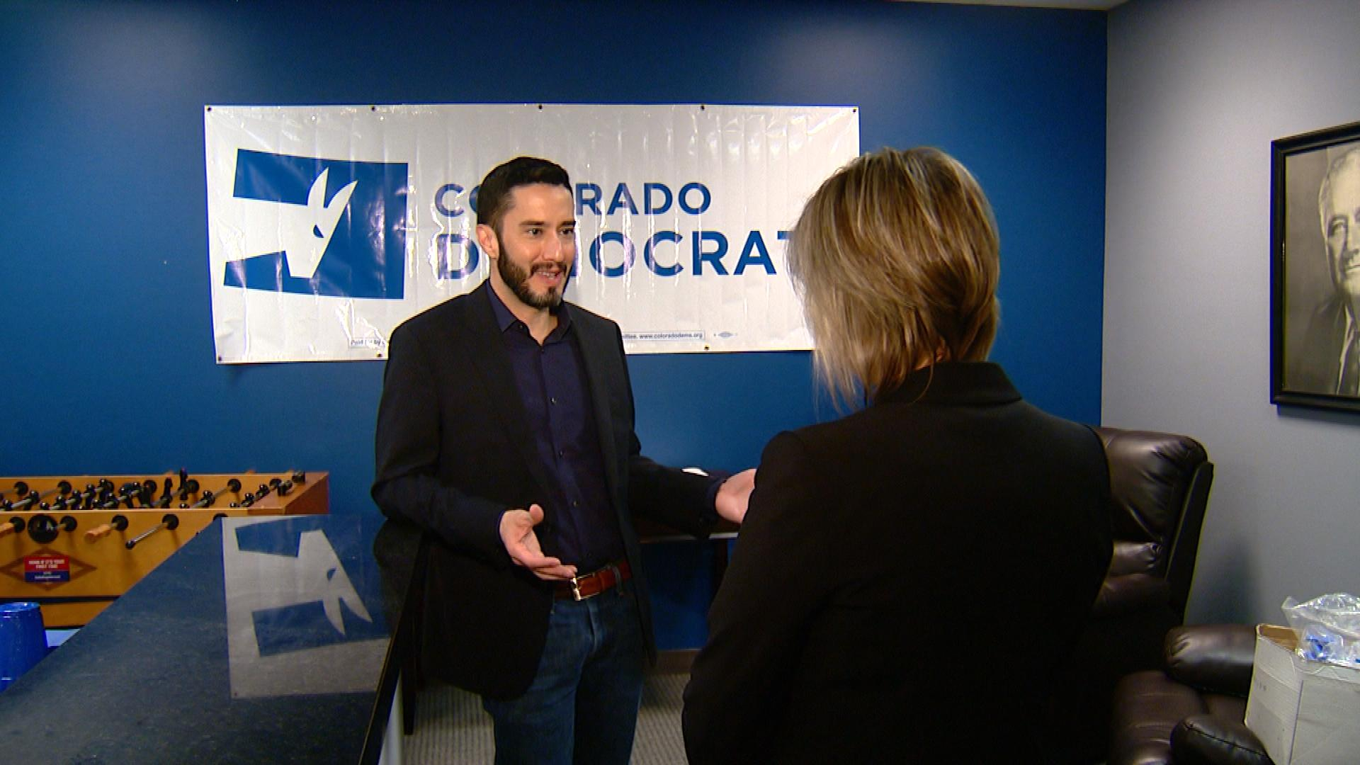 Colorado Democratic Party Chair Rick Palacio is interviewed by CBS4's Shaun Boyd (credit: CBS)