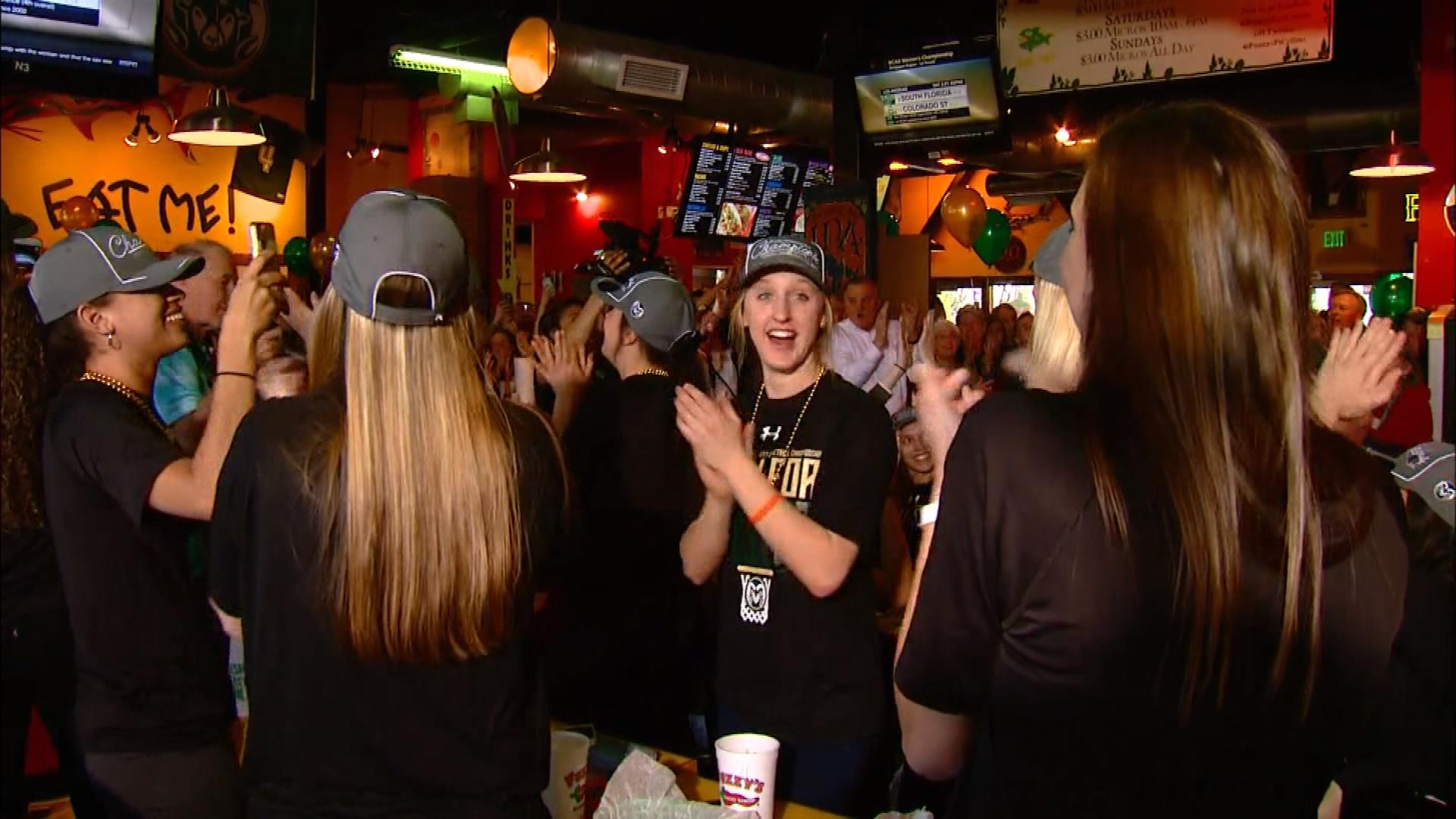 The team celebrates as the announcement was made (credit: CBS)