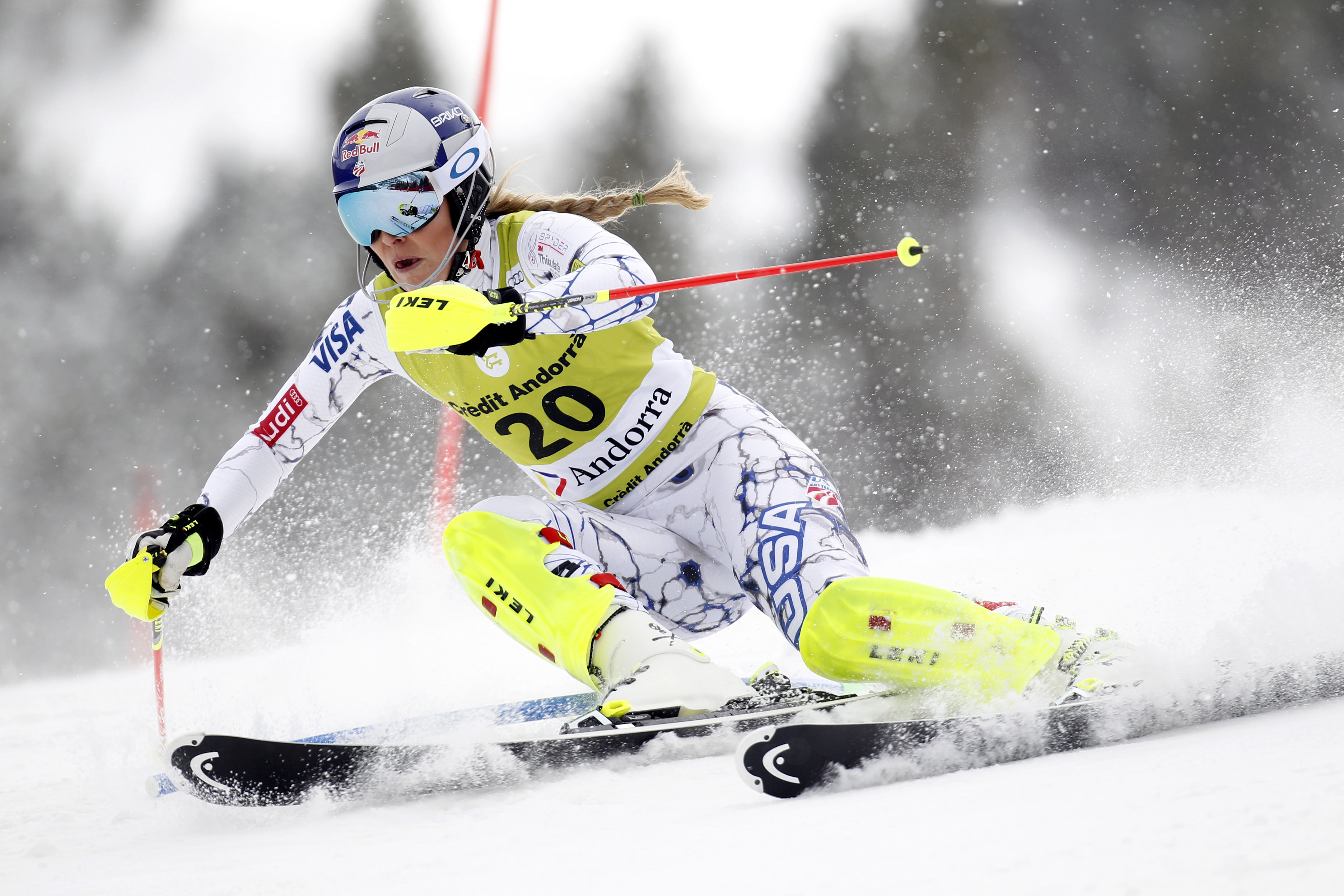 Lindsey Vonn of the USA competes during the Audi FIS Alpine Ski World Cup Women's Super Combined on Feb. 28, 2016 in Soldeu, Andorra. (credit: Alexis Boichard/Agence Zoom/Getty Images)