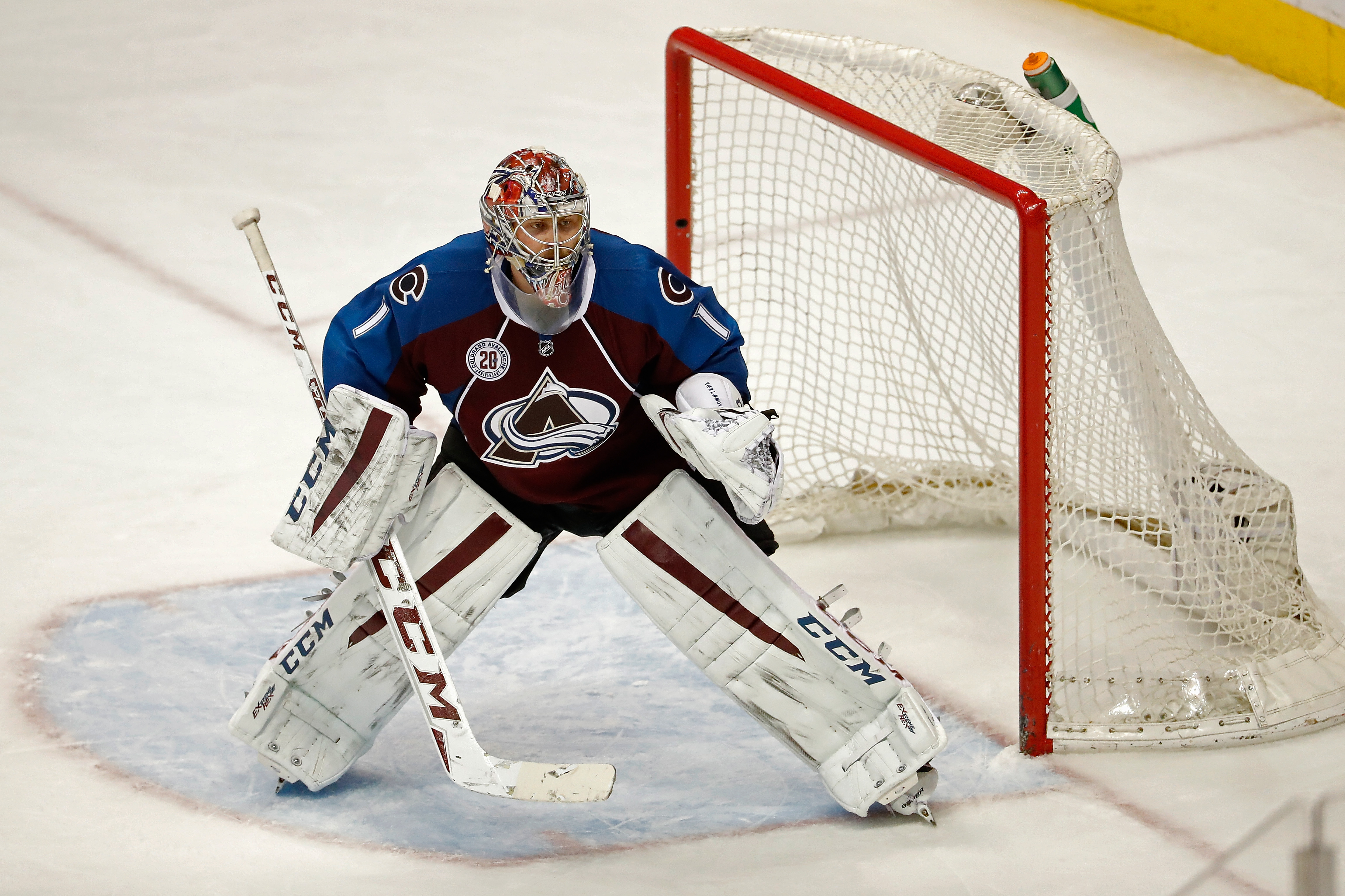 Goalie Semyon Varlamov #1 of the Colorado Avalanche defends the goal against the Anaheim Ducks at Pepsi Center on March 9, 2016 in Denver, Colorado. The Avalanche defeated the Ducks 3-0. (Photo by Doug Pensinger/Getty Images)