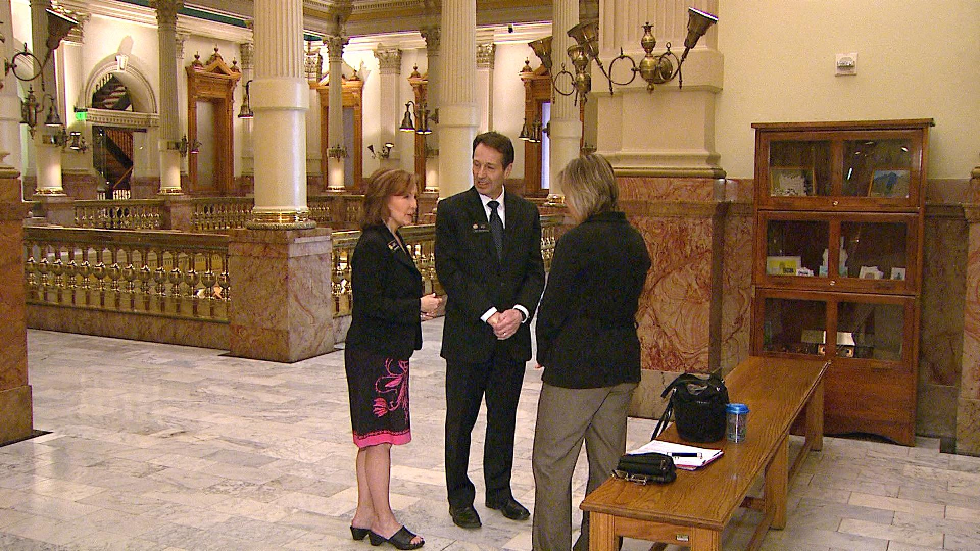 Sen. Linda Newell and Rep. Daniel Kagan are interviewed by CBS4's Shaun Boyd (credit: CBS)