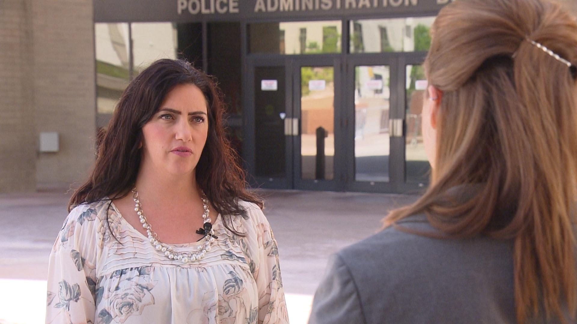 Christine Downs with the Denver Police Department is interviewed by CBS4's Melissa Garcia (credit; CBS)
