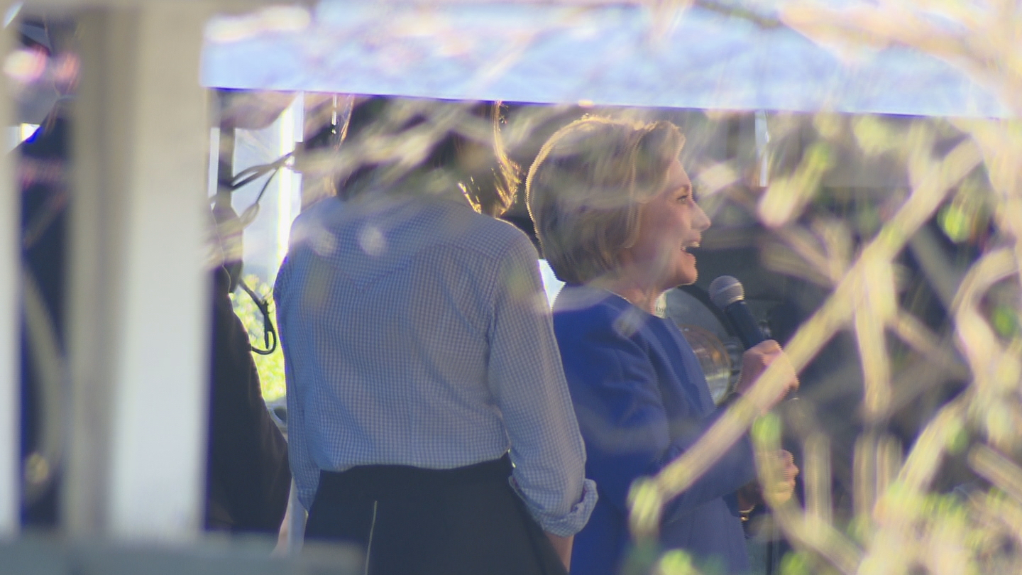 Hillary Clinton at a campaign event in Denver (credit: CBS)
