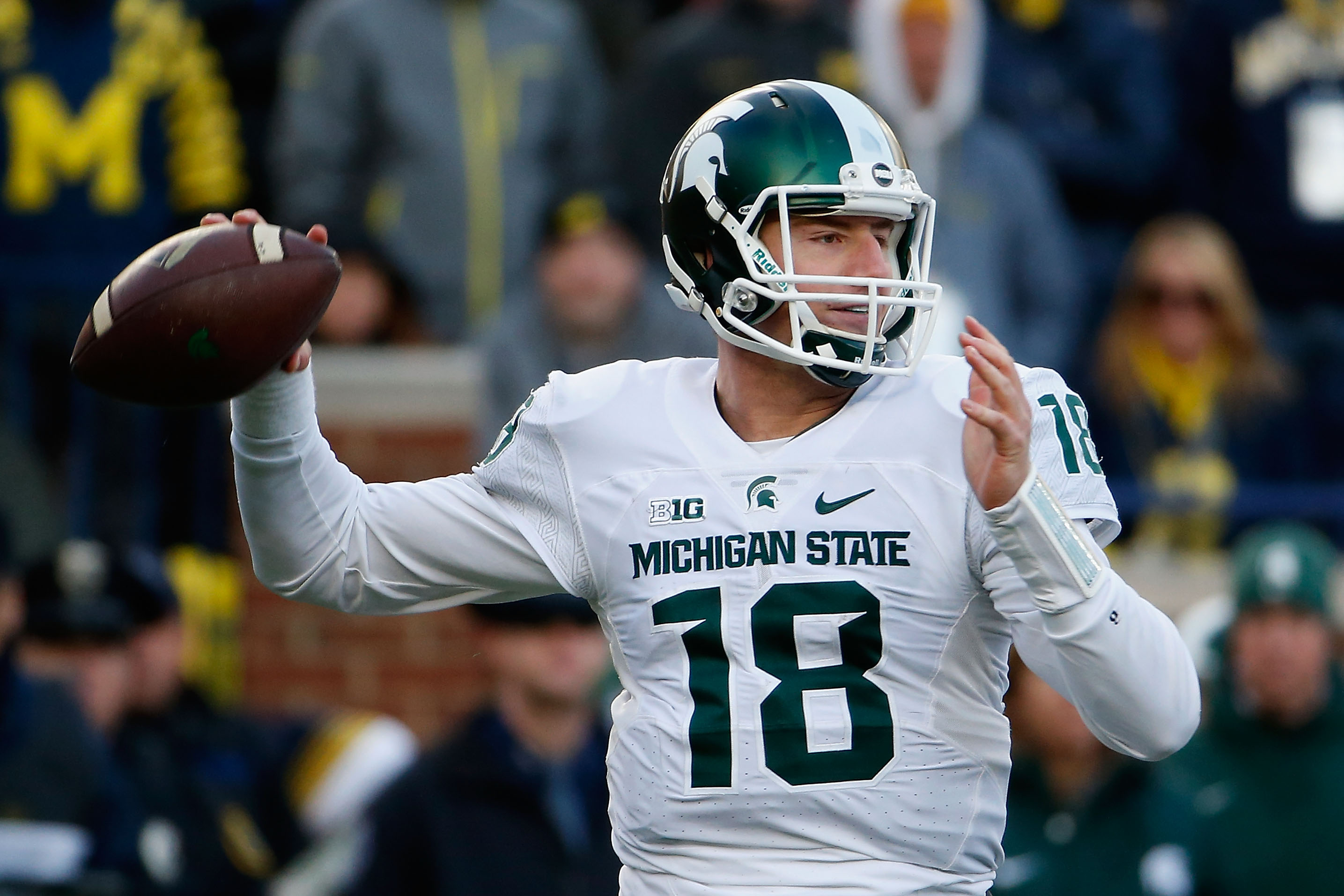 Quarterback Connor Cook of the Michigan State Spartans at Michigan Stadium on Oct. 17, 2015 in Ann Arbor, Michigan. (Photo by Christian Petersen/Getty Images)