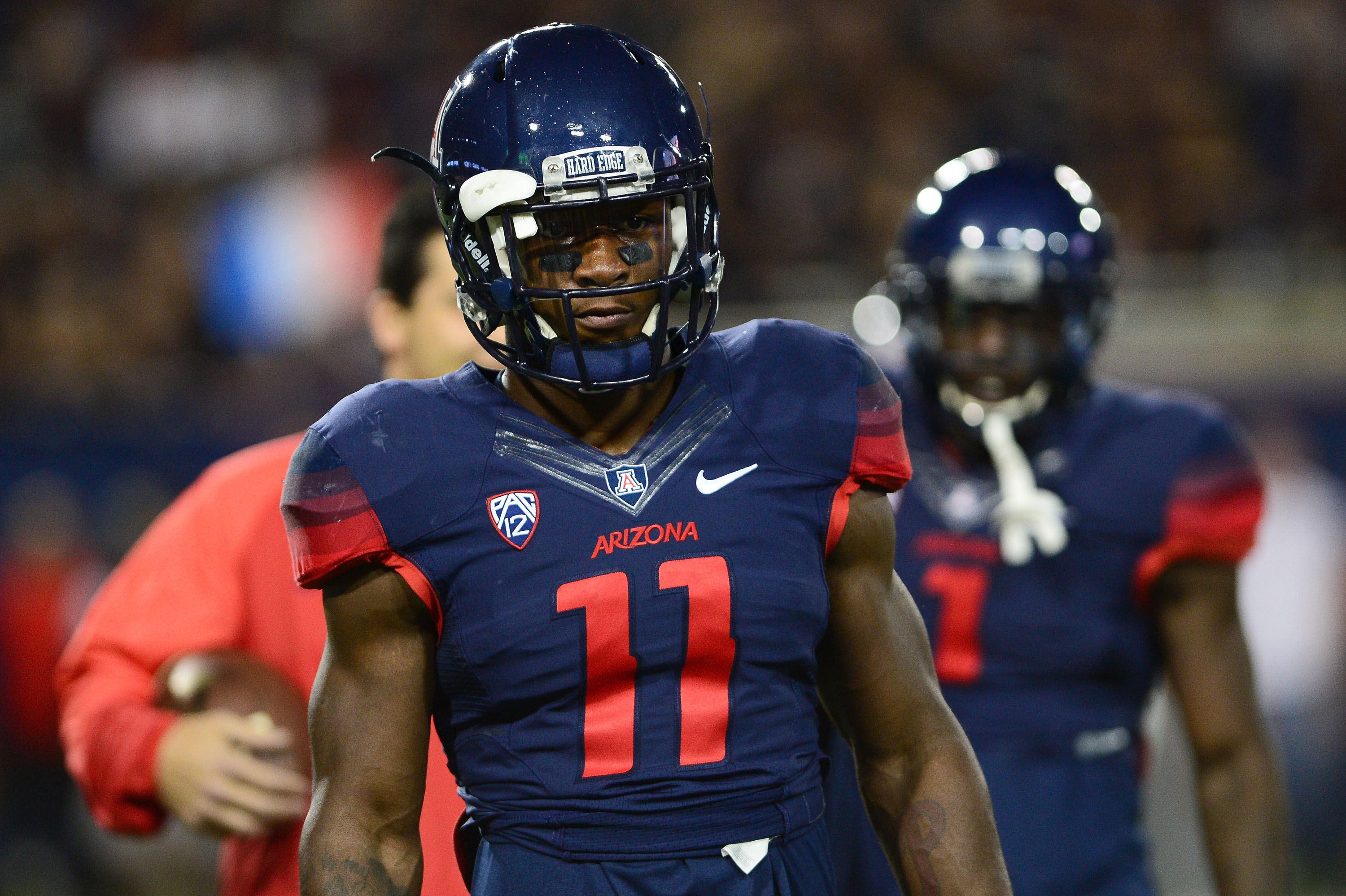 Safety Will Parks #11 of the Arizona Wildcats looks on during warm ups prior to the game against Utah Utes at Arizona Stadium on November 14, 2015 in Tucson, Arizona. (Photo by Jennifer Stewart/Getty Images)