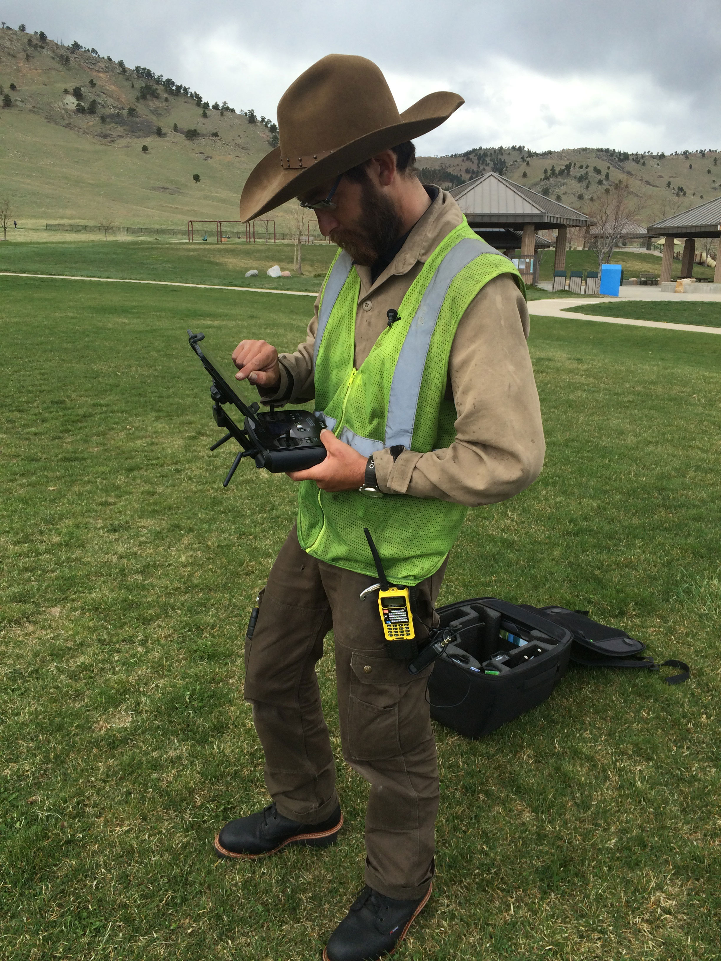 Boulder County resident Trevor Ycas launching a drone in Foothills Community Park Tuesday, where Ycas says the city gave him permission to fly the unmanned aircraft as long as he complies with FAA regulations (credit: CBS)