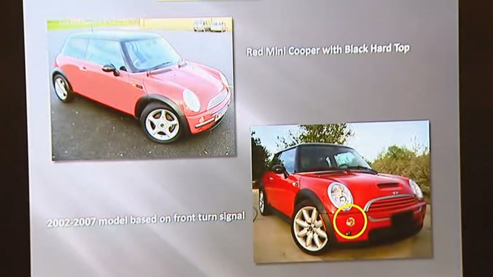 The red Mini Cooper wanted in the shootings at Banner Health Facility and Cottonwood Plains Elementary School (credit: CBS)