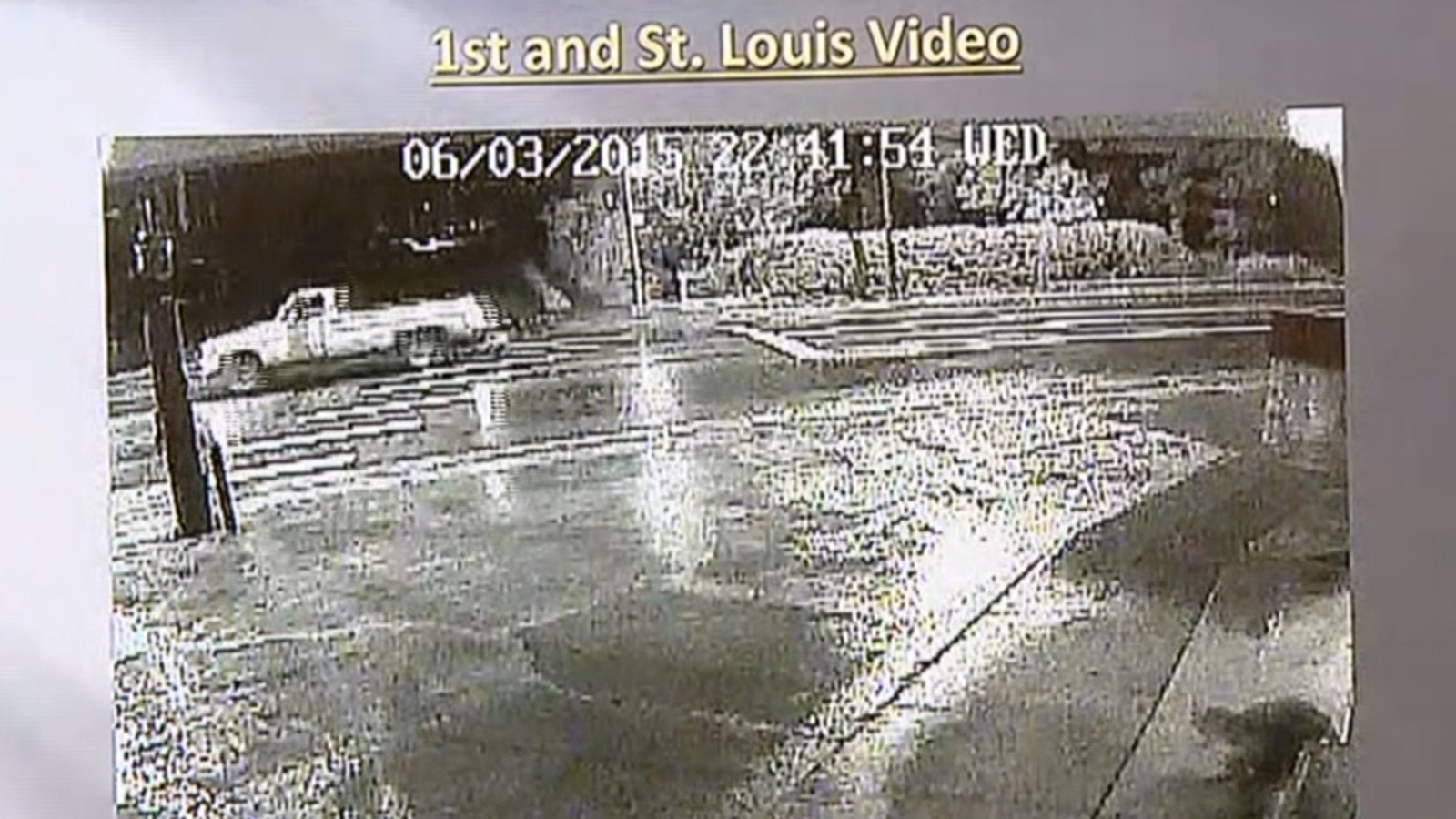 Surveillance video of a pickup wanted in connection with two shootings. (credit: CBS)