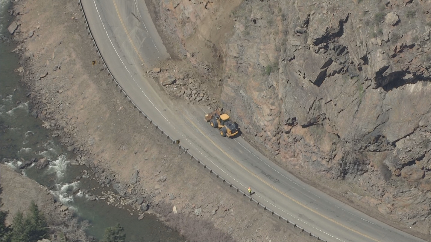 Copter4 flew over a rock slide that closed Highway 6 west of Golden in Clear Creek Canyon on Tuesday (credit: CBS)