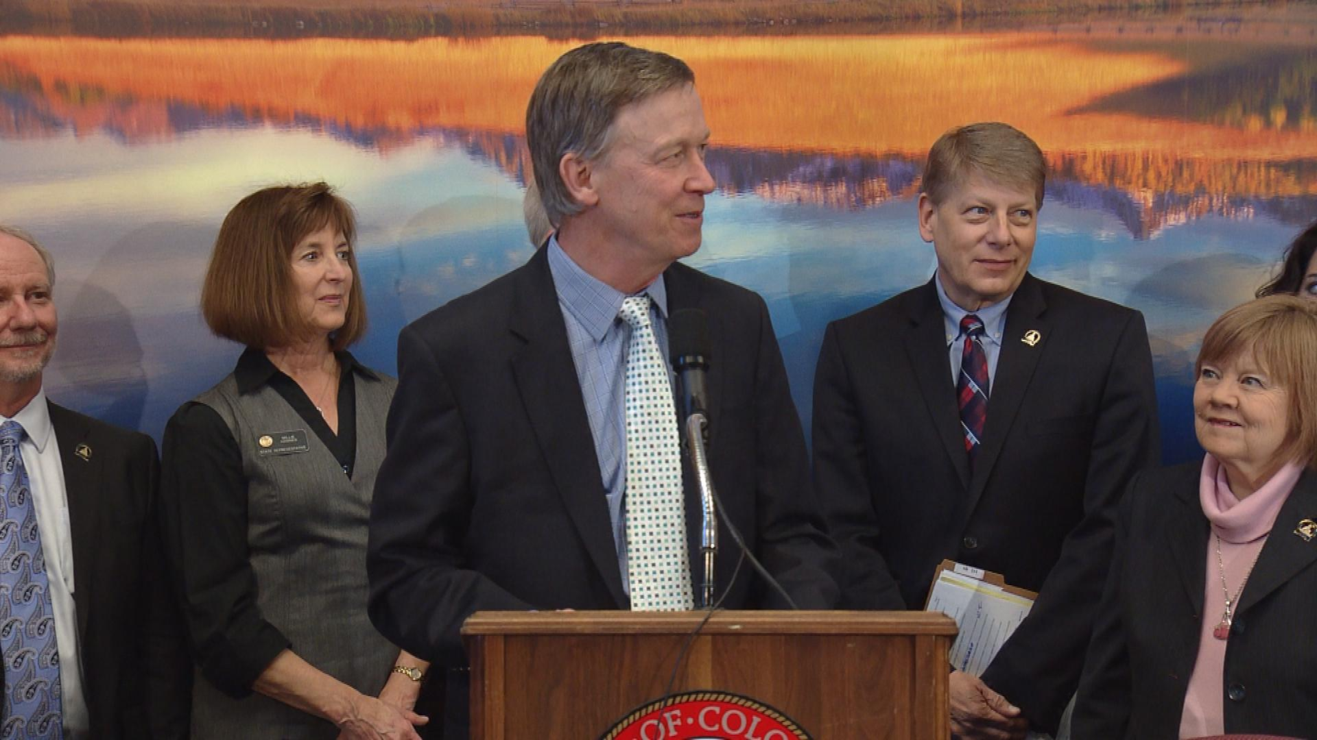 Gov. Hickenlooper on Tuesday (credit: CBS)