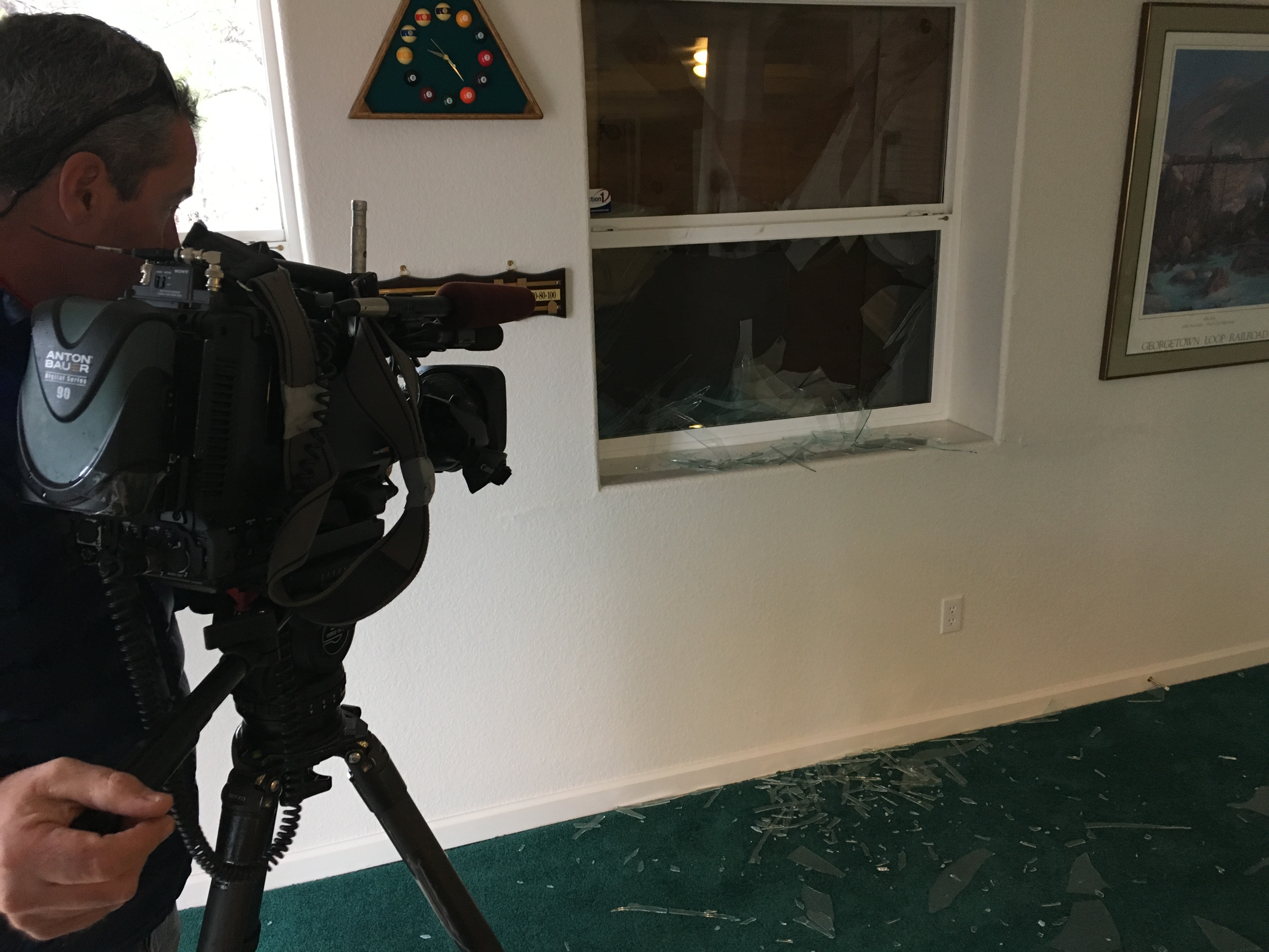 The damage to Rance Massey's home (credit: CBS)
