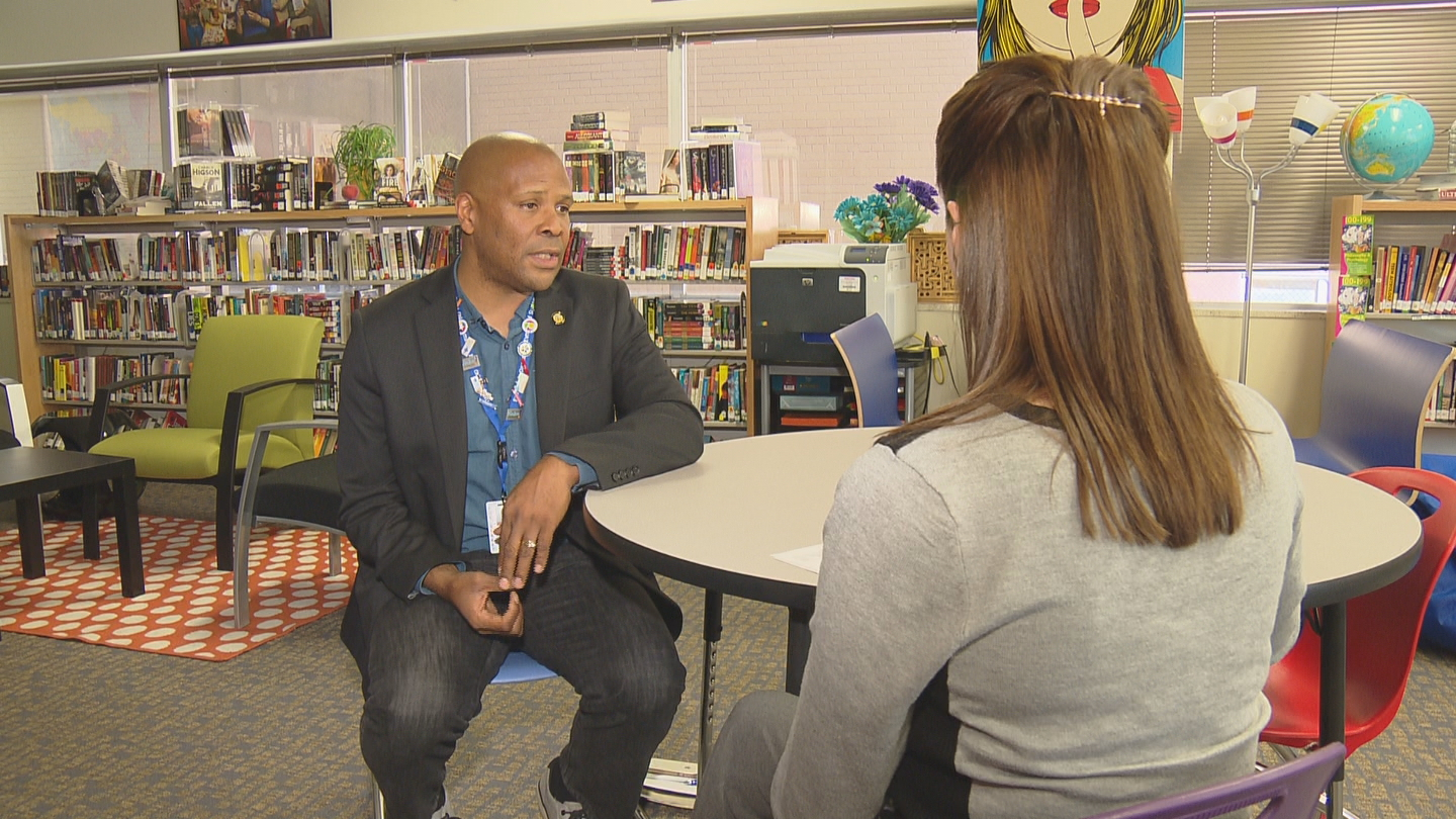 CBS4's Melissa Garcia interviews Eldridge Greer, Executive Director of Whole Child Supports at Denver Public Schools. (credit: CBS)