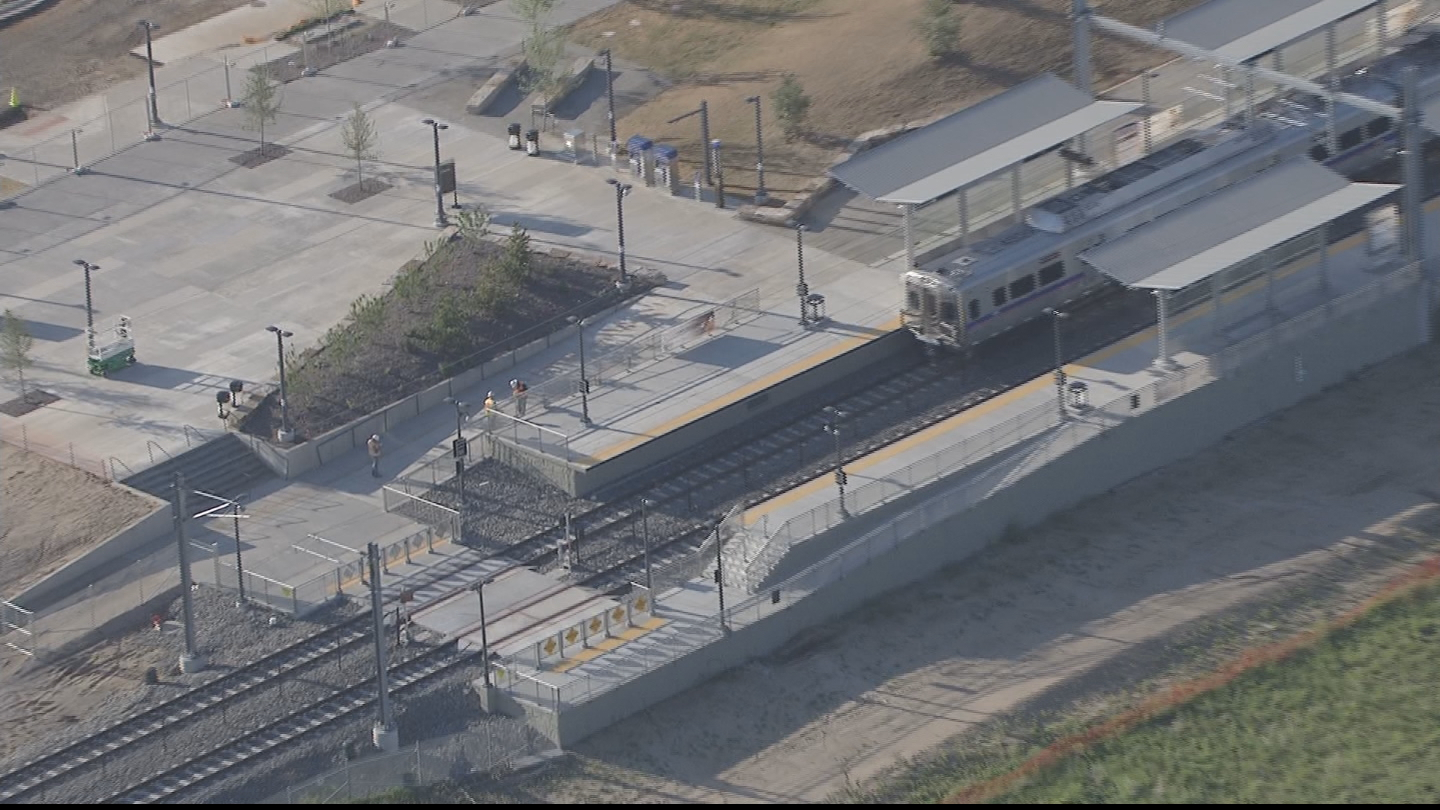 Copter4 flew over the delayed train at 61st and Pena Blvd. on June 9 (credit: CBS)