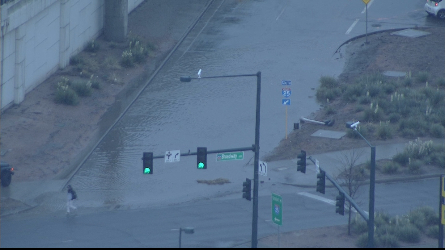 Copter4 flew over flooding at Broadway and I-25 (credit: CBS)