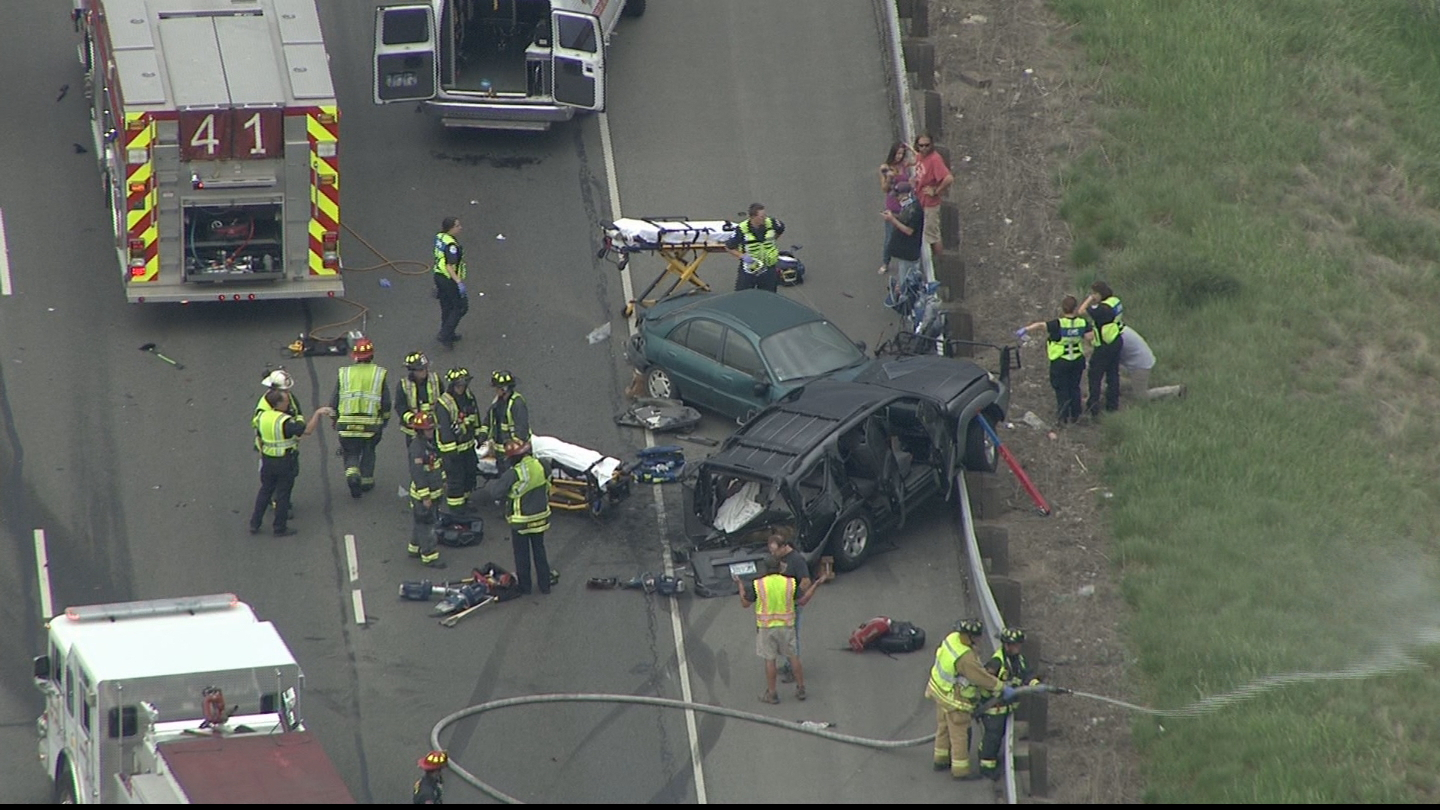 Copter4 flew over a crash on westbound I-70 near 6th Avenue (credit: CBS)