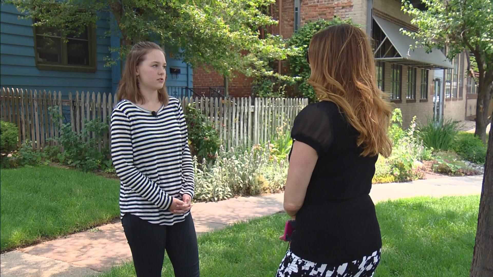 Grace Davis is interviewed by CBS4's Jennifer Brice (credit: CBS)