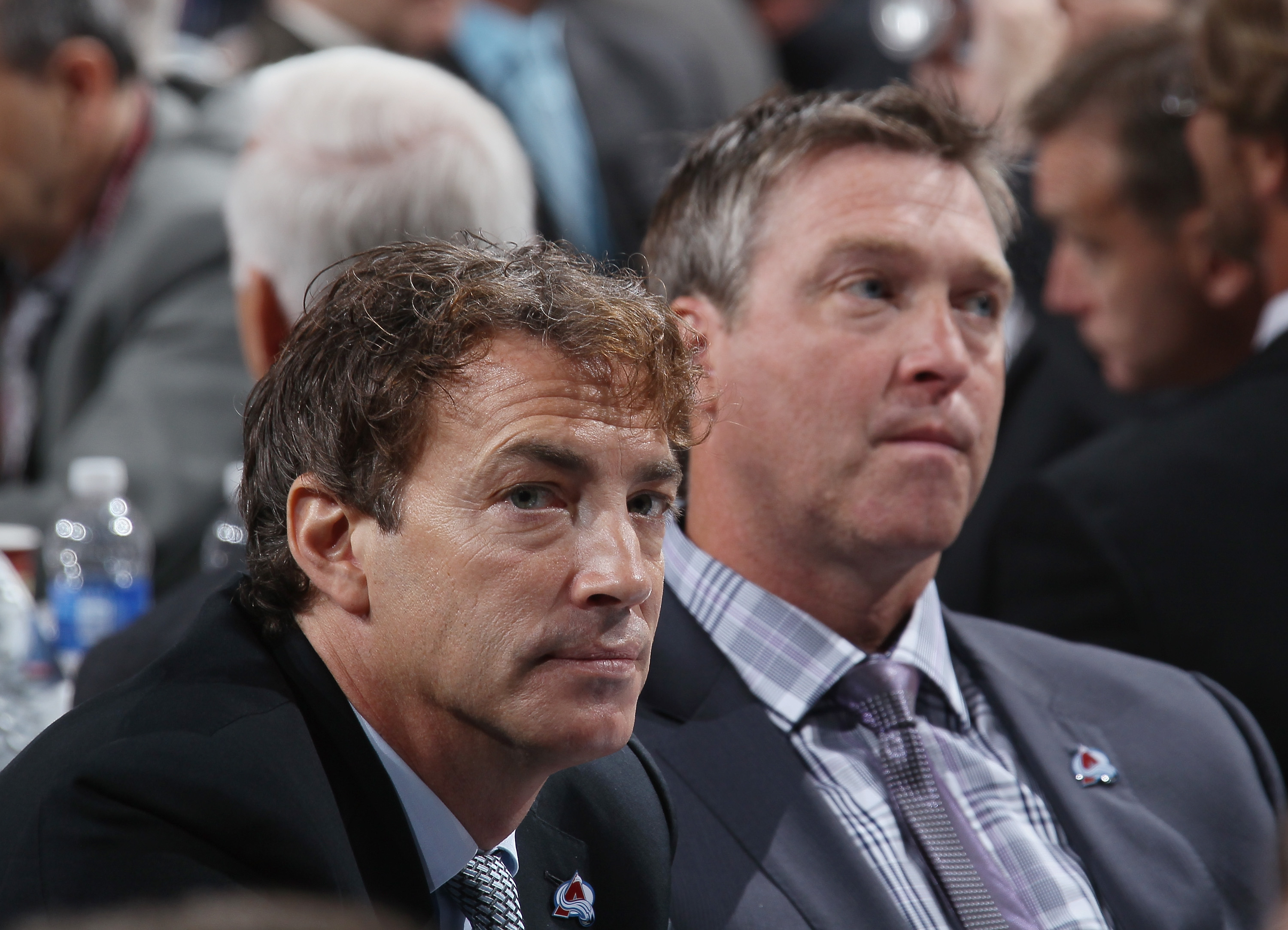 NEWARK, NJ - JUNE 30: Joe Sakic and Patrick Roy of the Colorado Avalanche attend the 2013 NHL Draft at the Prudential Center on June 30, 2013 in Newark, New Jersey. (Photo by Bruce Bennett/Getty Images)