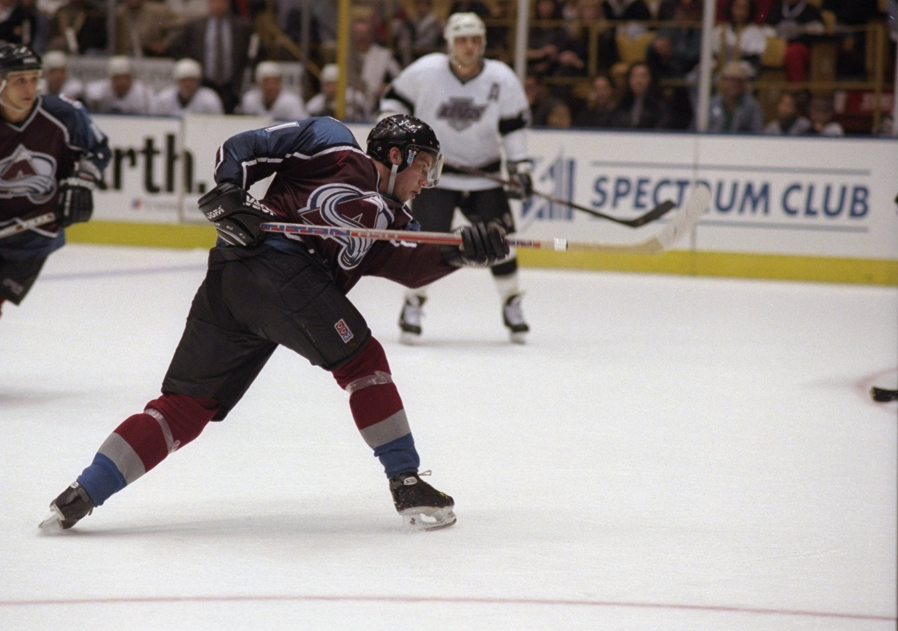 7 Dec 1996: Center Peter Forsberg of the Colorado Avalanche in action during a game against the Los Angeles Kings at the Great Western Forum in Inglewood, California. The Kings won the game 4-2. Mandatory Credit: Elsa Hasch /Allsport