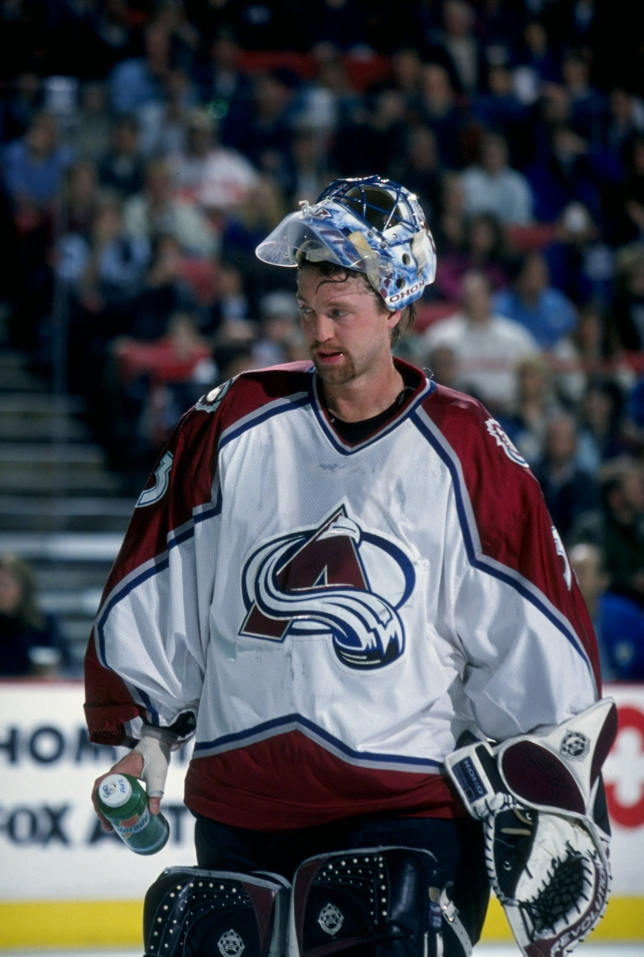 16 Dec 1996: Goaltender Patrick Roy of the Colorado Avalanche in action during a game against the Detroit Red Wings at the McNichols Arena in Denver, Colorado. The Avalanche defeated the Red Wings 4-3. Mandatory Credit: Nevin Reid /Allsport