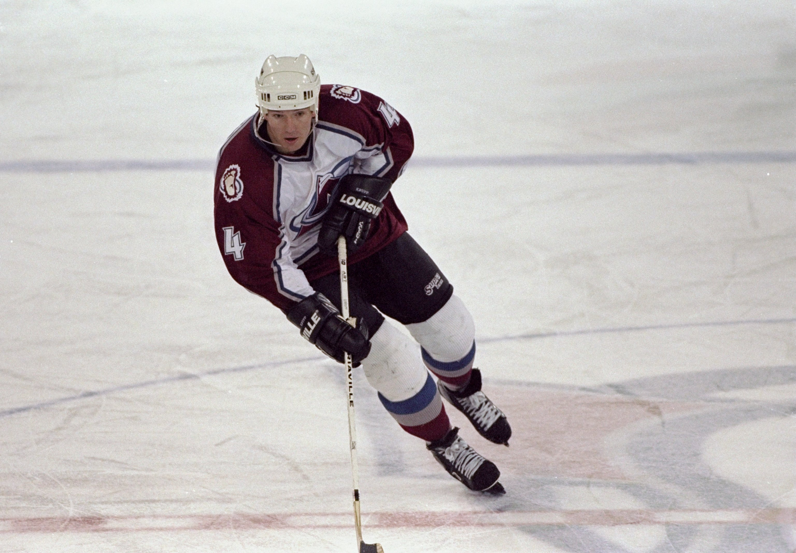 20 Nov 1996: Defenseman Uwe Krupp of the Colorado Avalanche in action during a game against the Phoenix Coyotes at the McNichols Sports Arena in Denver, Colorado. The Avalanche won the game, 6-0. (credit: Jamie Squire/Allsport/Getty Images)