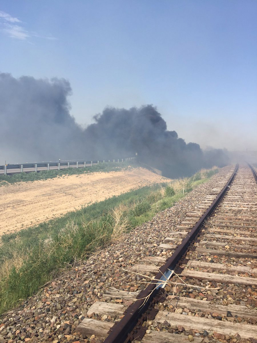 The wildfire burning near Haswell (credit: Kiowa County)