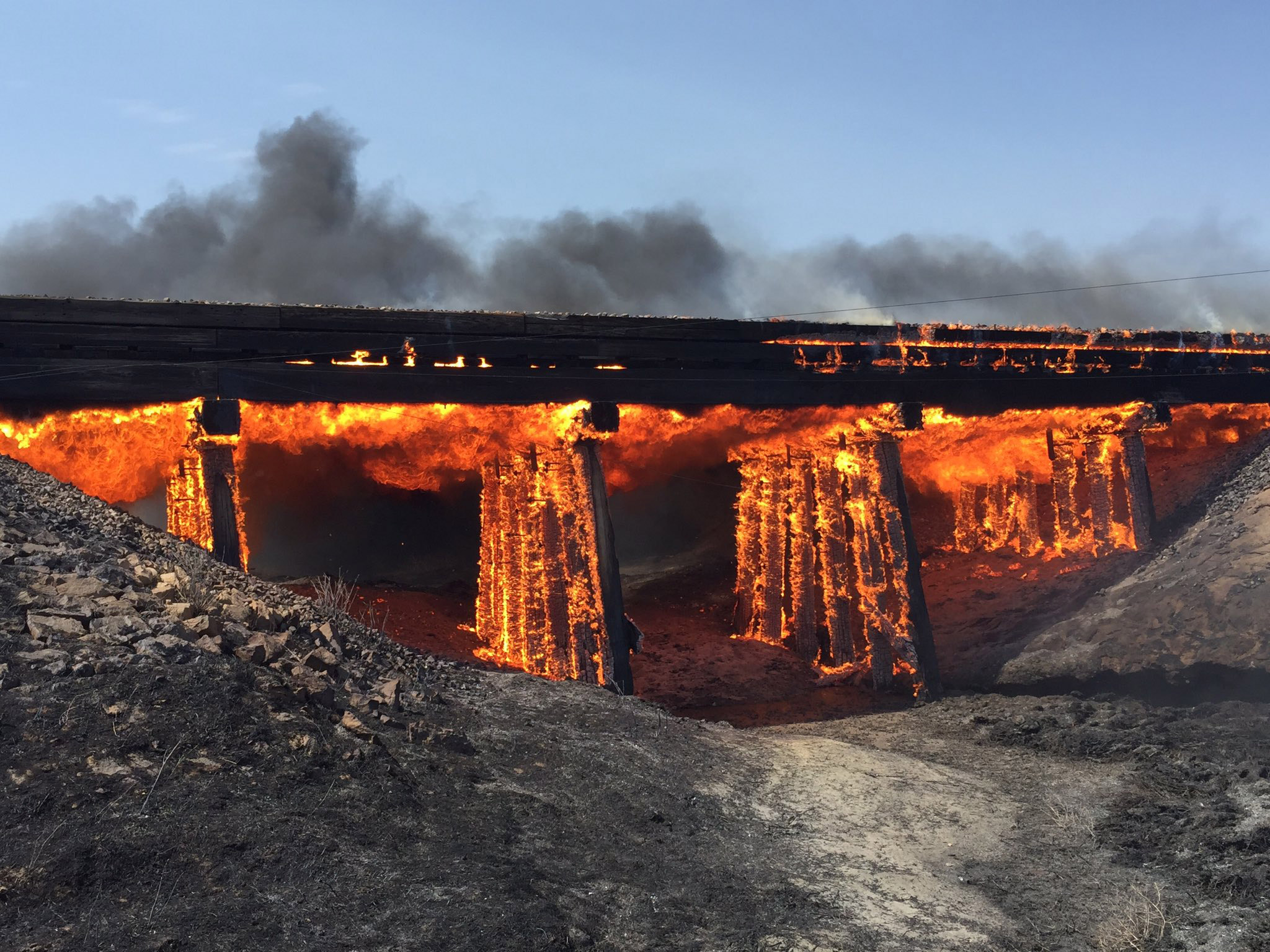 The wildfire burning near Haswell burned a train trestle (credit: Kiowa County)