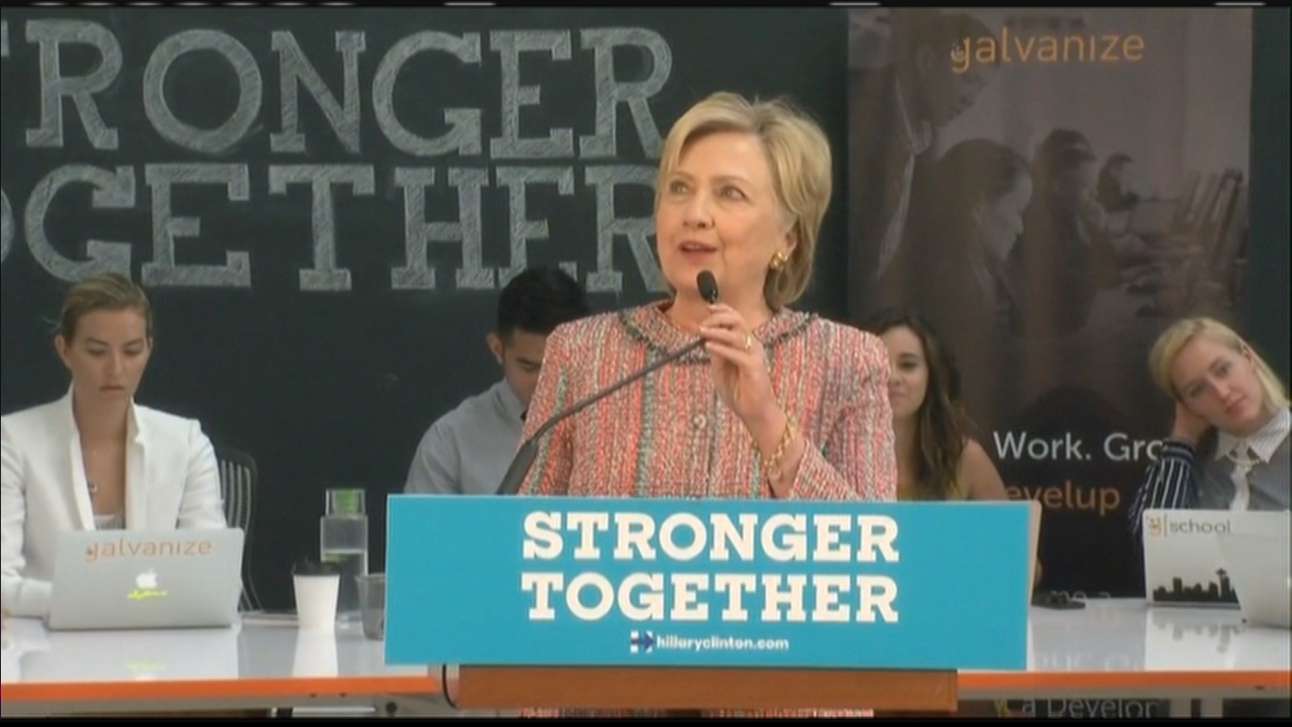 Hillary Clinton in Denver on Tuesday (credit: CBS)