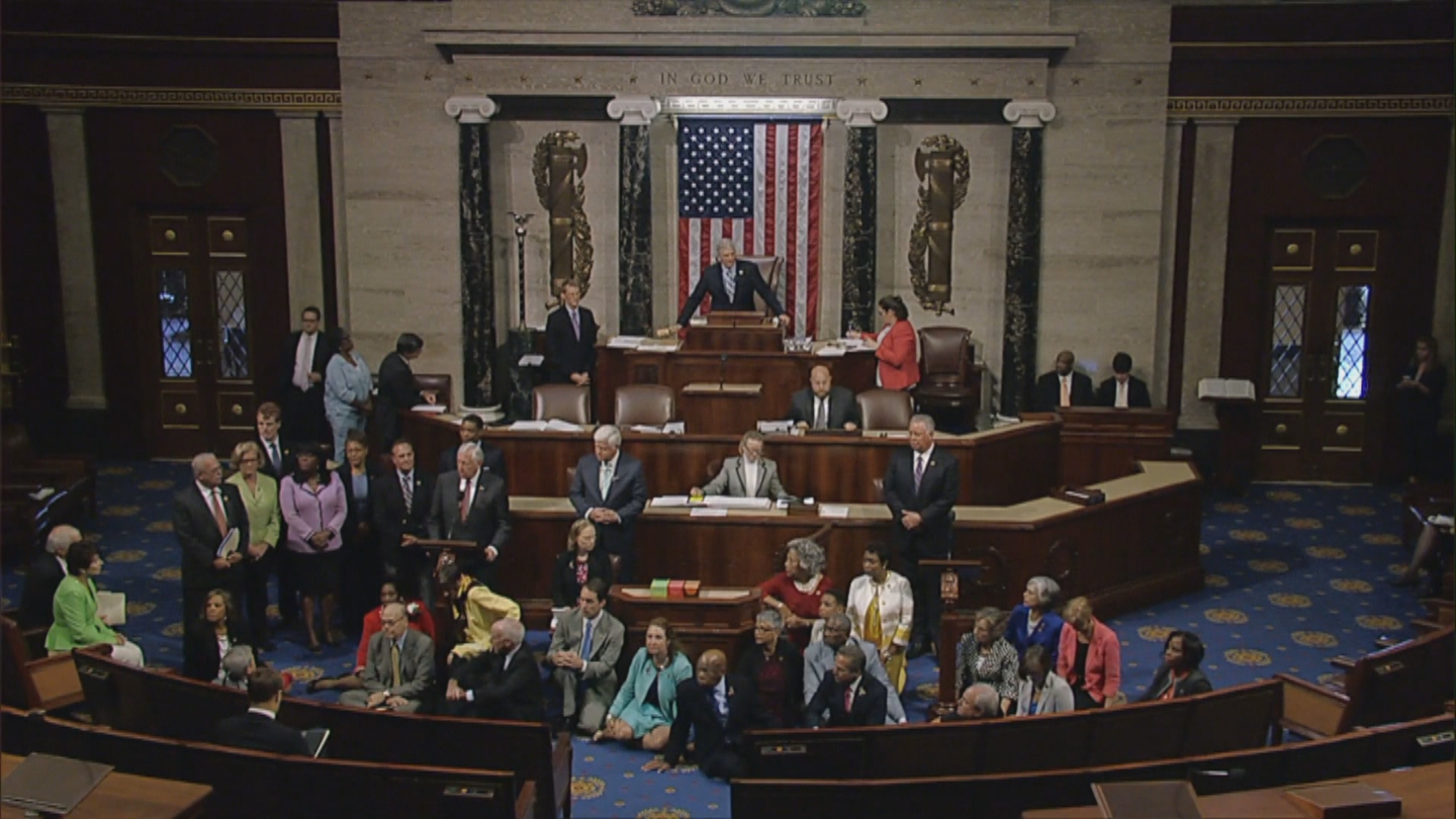 Rep. Ed Perlmutter was among those who sat on the floor of the U.S. House on Wednesday (credit: CBS)