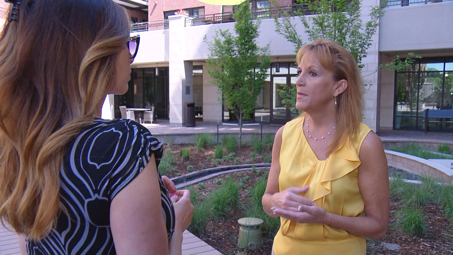 CBS4's Jennifer Brice interviews Carole Walker with the Rocky Mountain Insurance Information Association (credit: CBS)