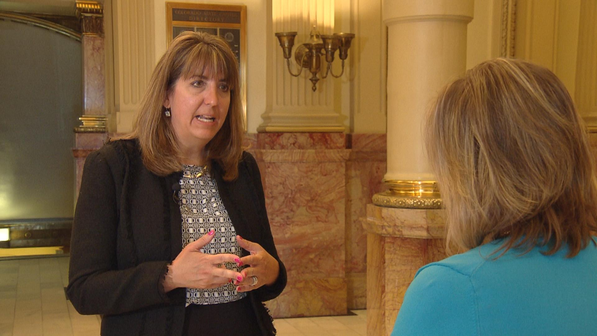 Beth Leon with the Initiative for Inclusive Higher Education is interviewed by CBS4's Shaun Boyd (credit; CBS)