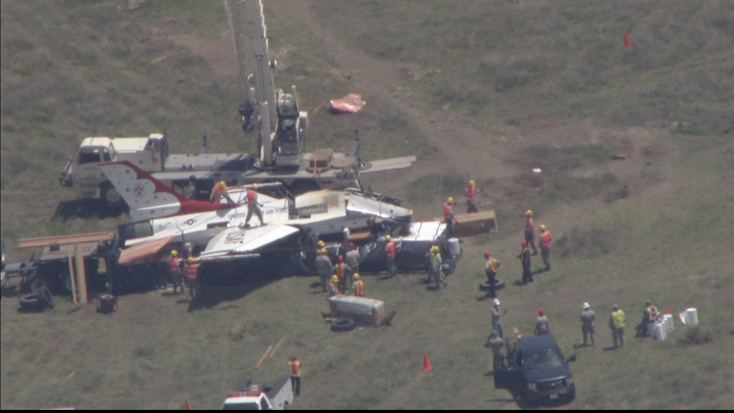 Copter4 flew over the jet as it was loaded onto a trailer (credit: CBS)